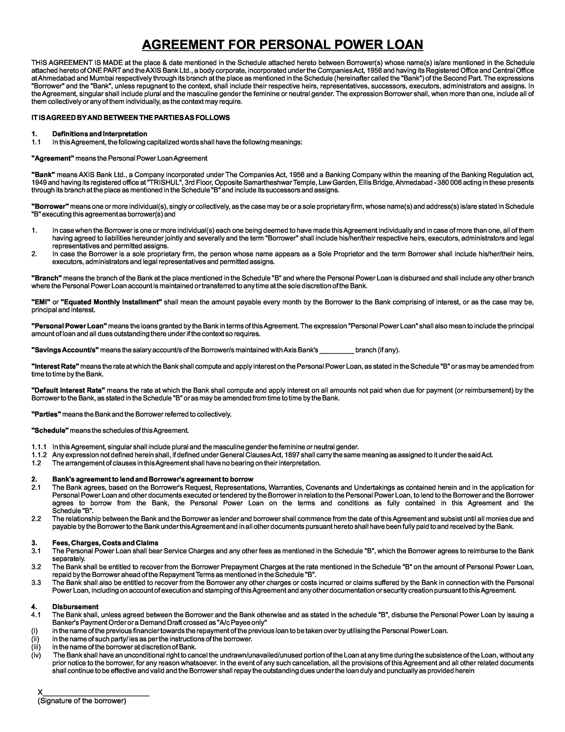Printable Loan Agreement Template 13  Bank Loan Agreement Format