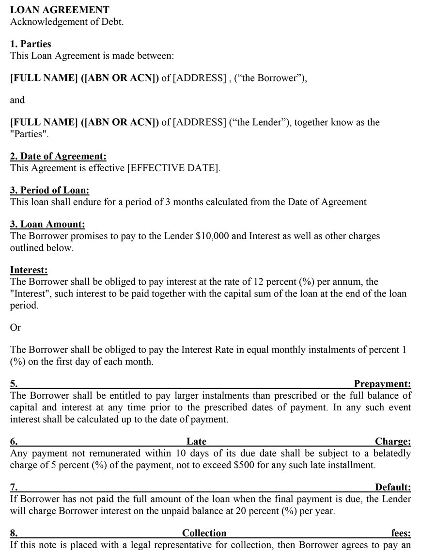 Printable Loan Agreement Template 16  Legal Promise To Pay Document