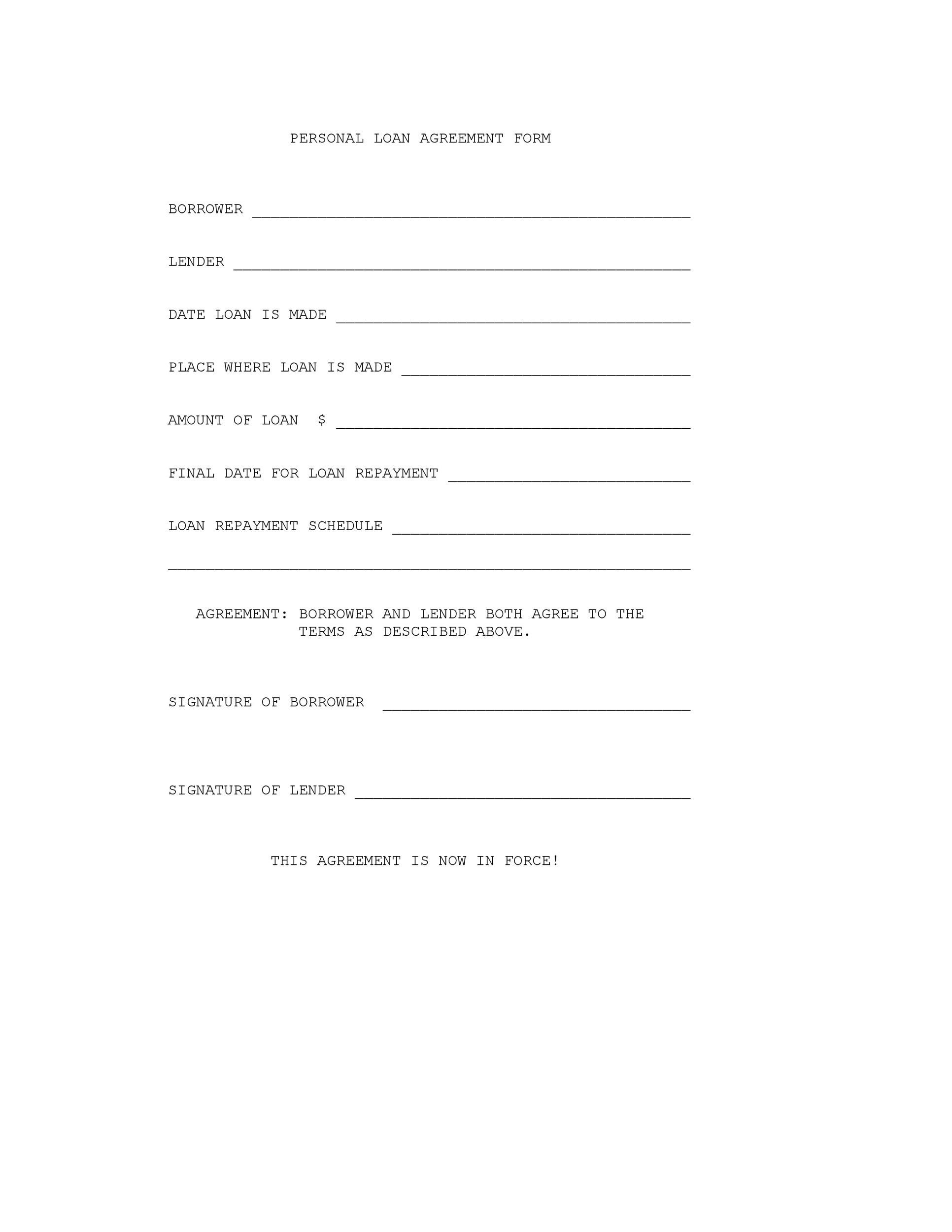 printable loan agreement template 17 - Sample Lending Contract