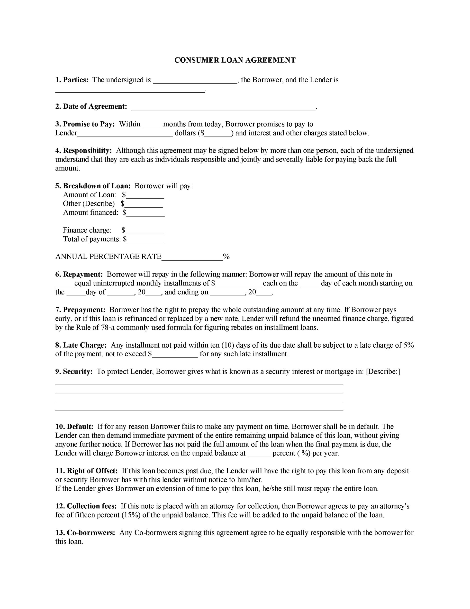 Printable Loan Agreement Template 18  Financial Loan Agreement Template