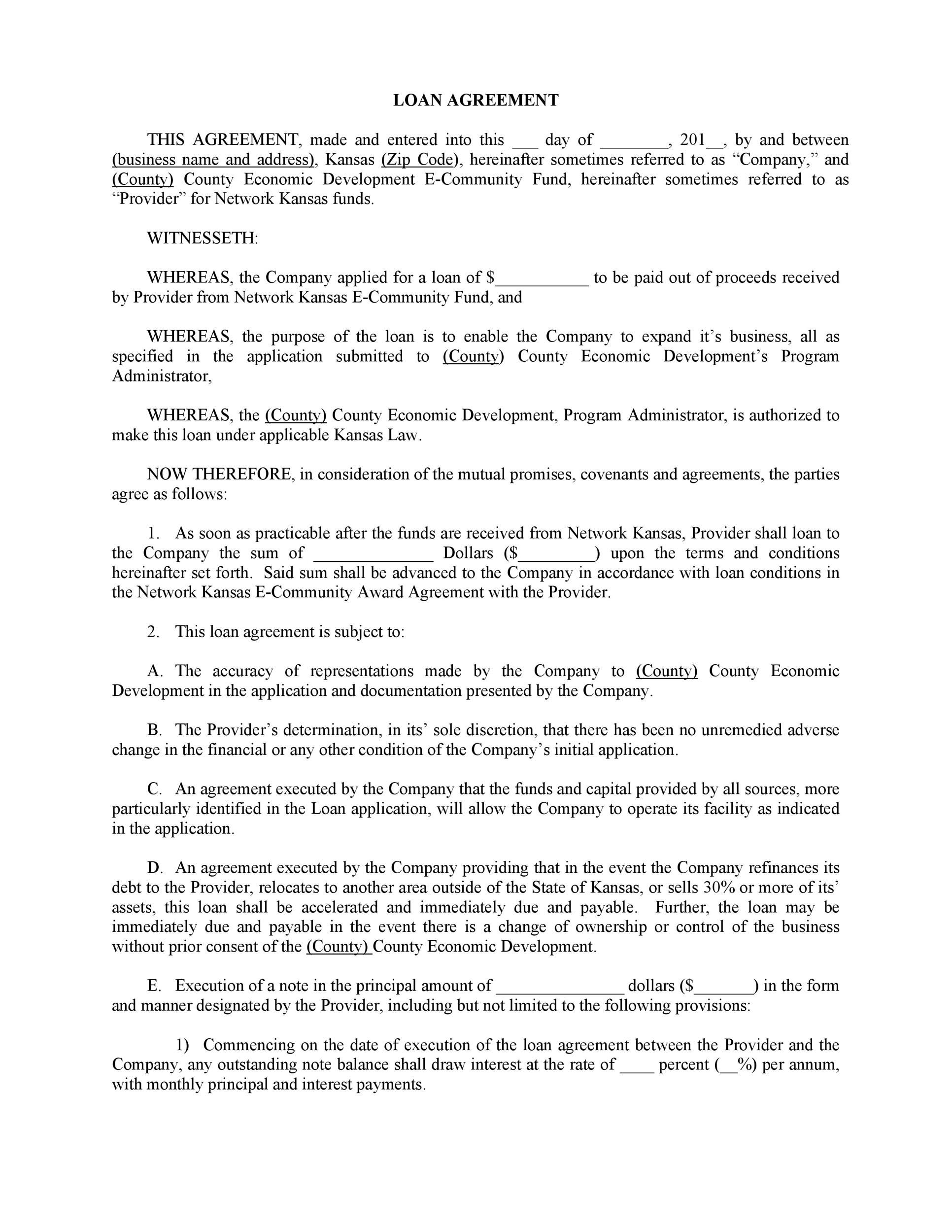 Free loan agreement template 20