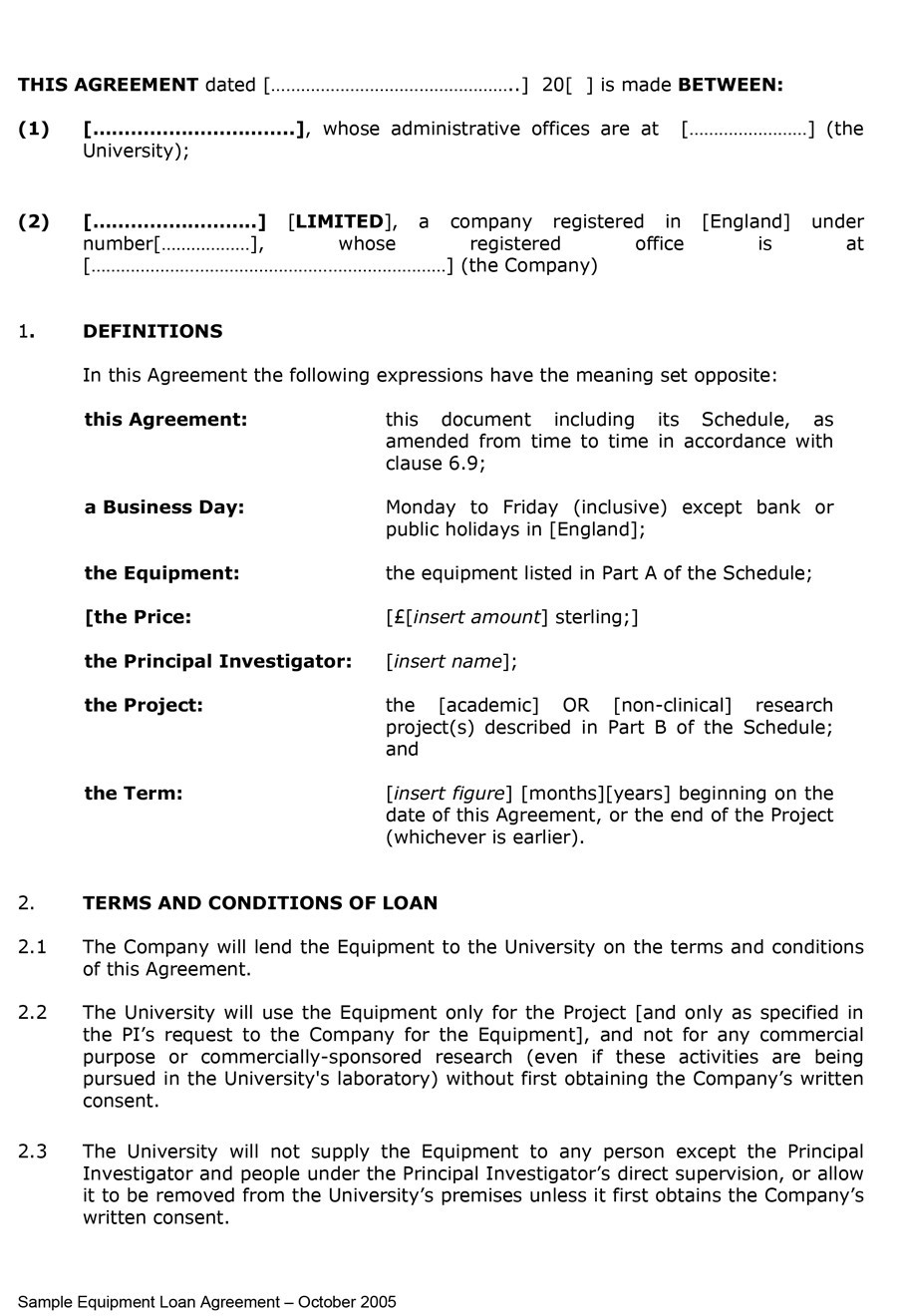 Printable Loan Agreement Template 26  Loan Agreement Template Uk