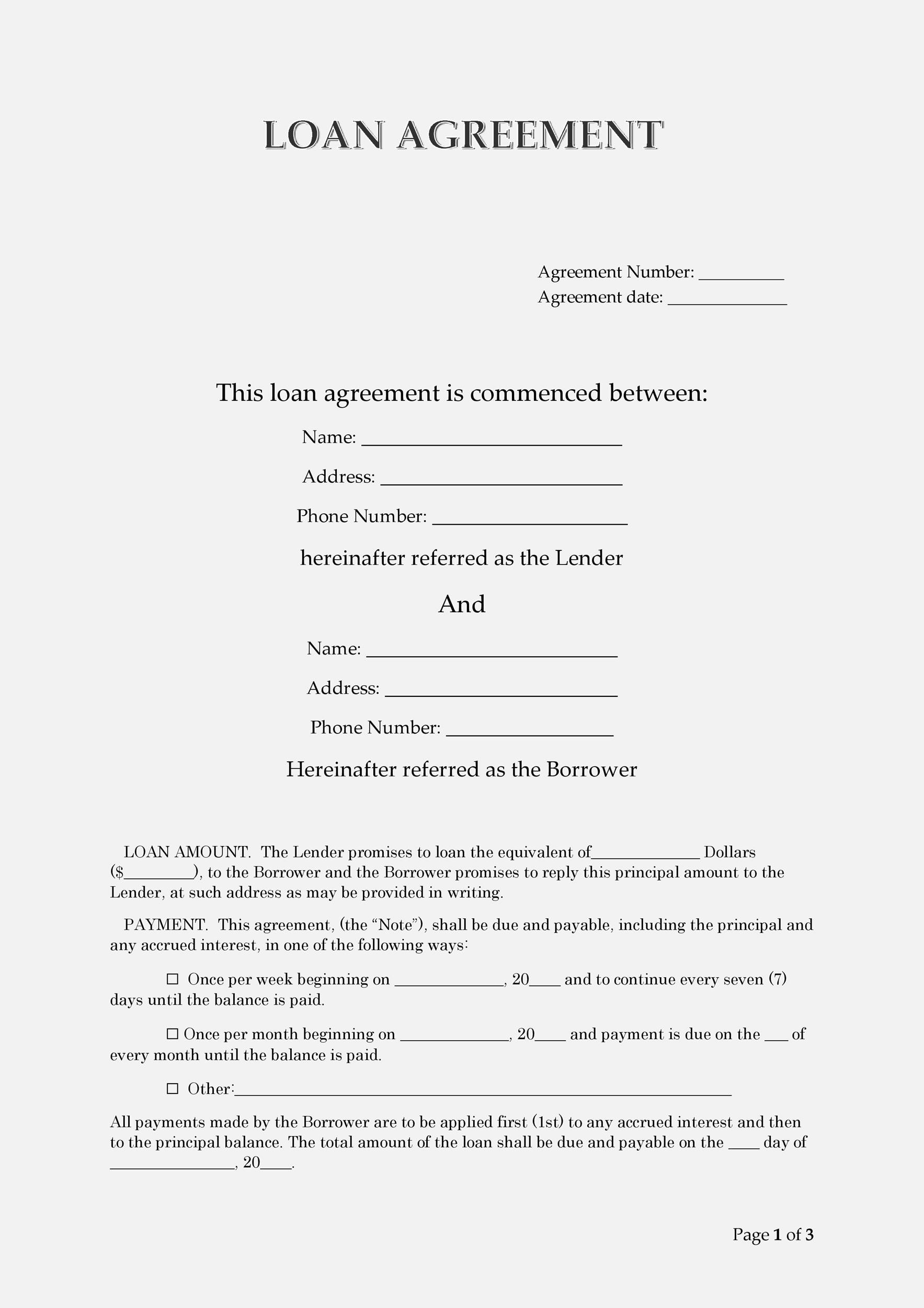 Printable Loan Agreement Template 27  Promise To Pay Template