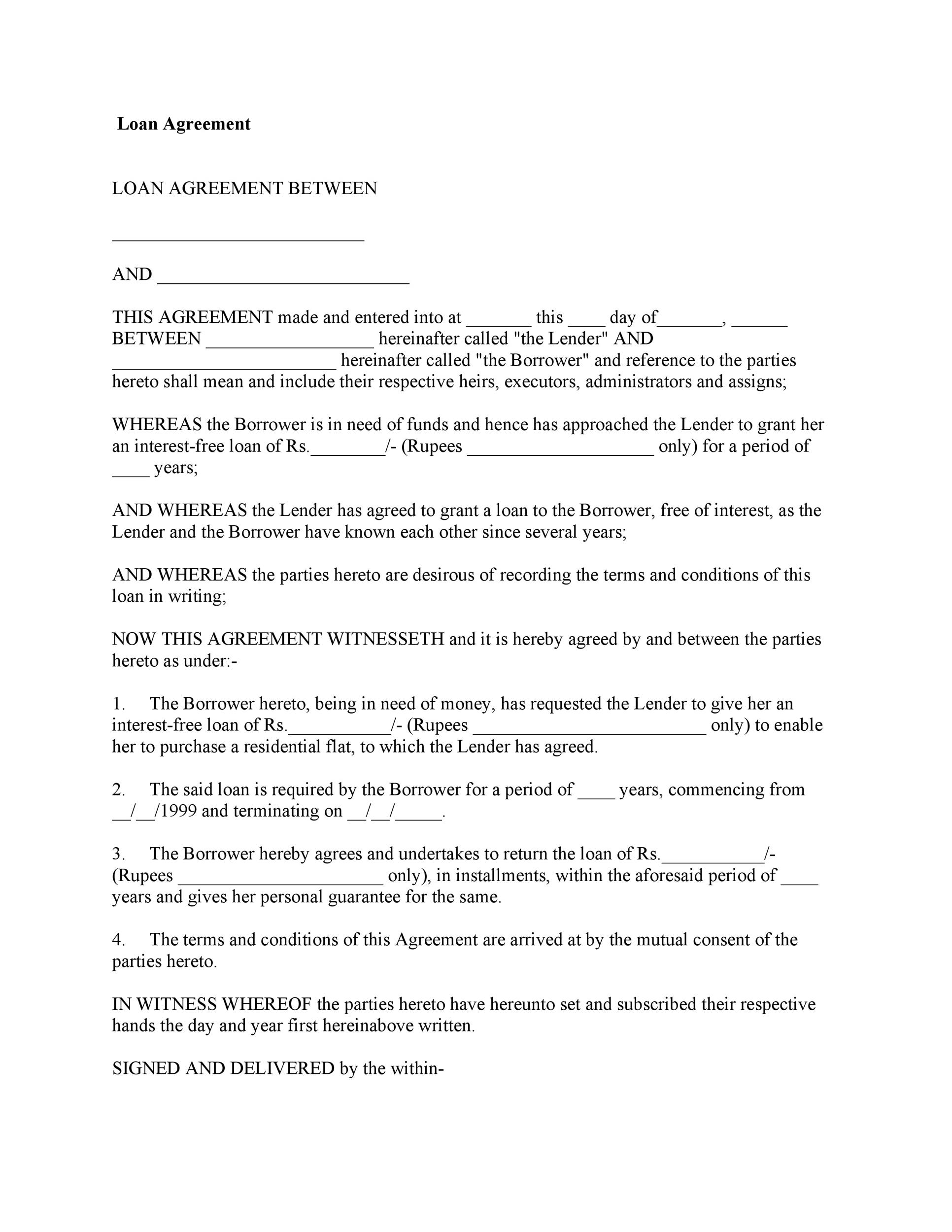 Printable Loan Agreement Template 32  Loan Form Sample