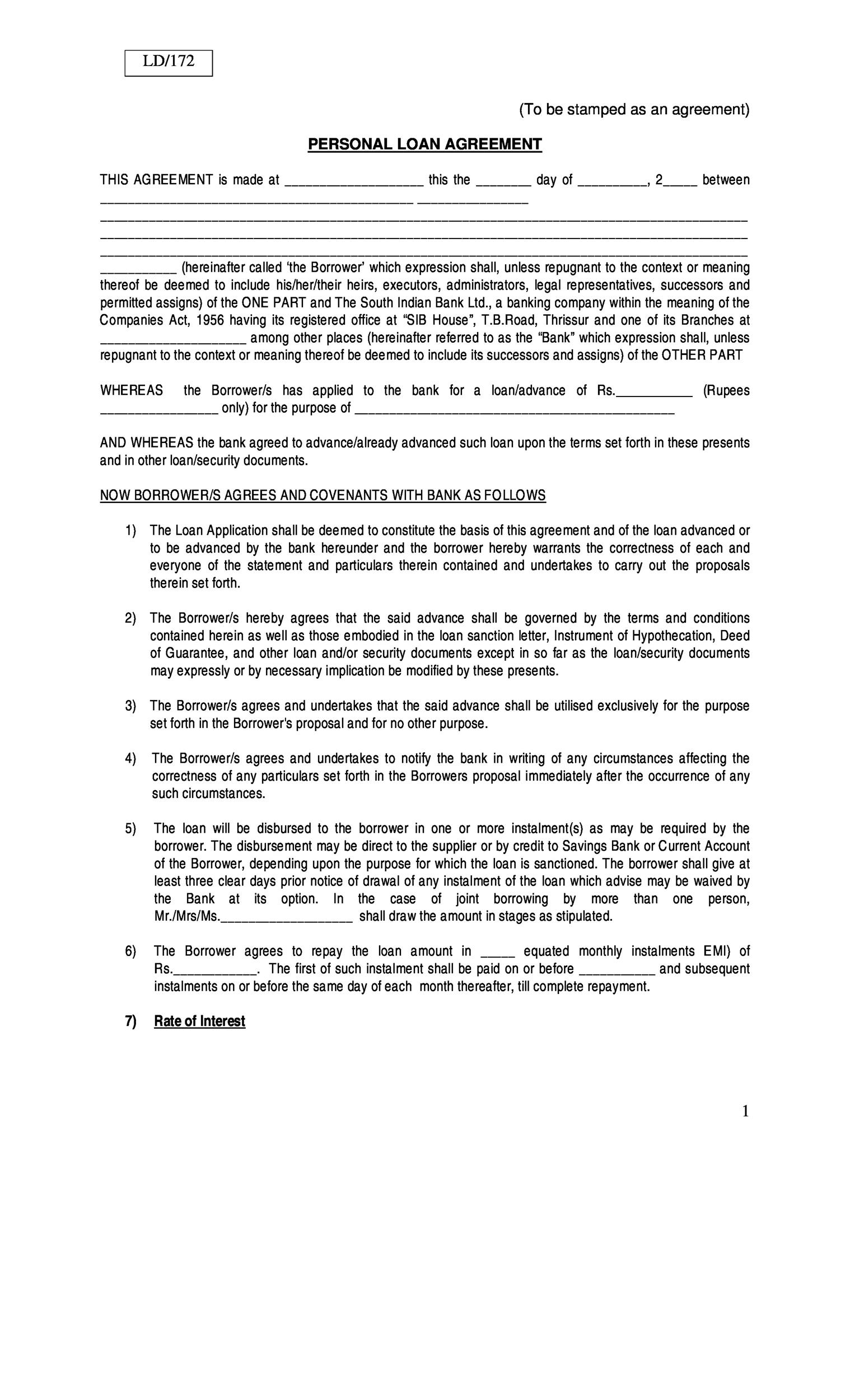 Free loan agreement template 35