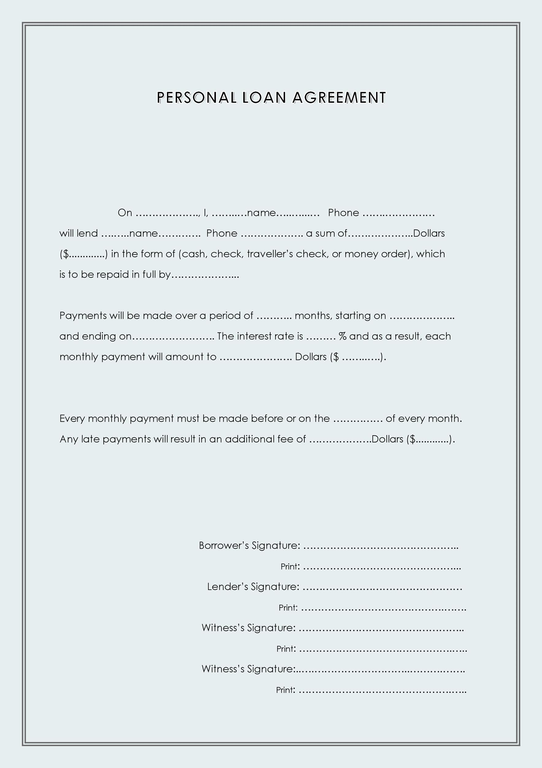 Printable Loan Agreement Template 36  Personal Loan Contract Sample
