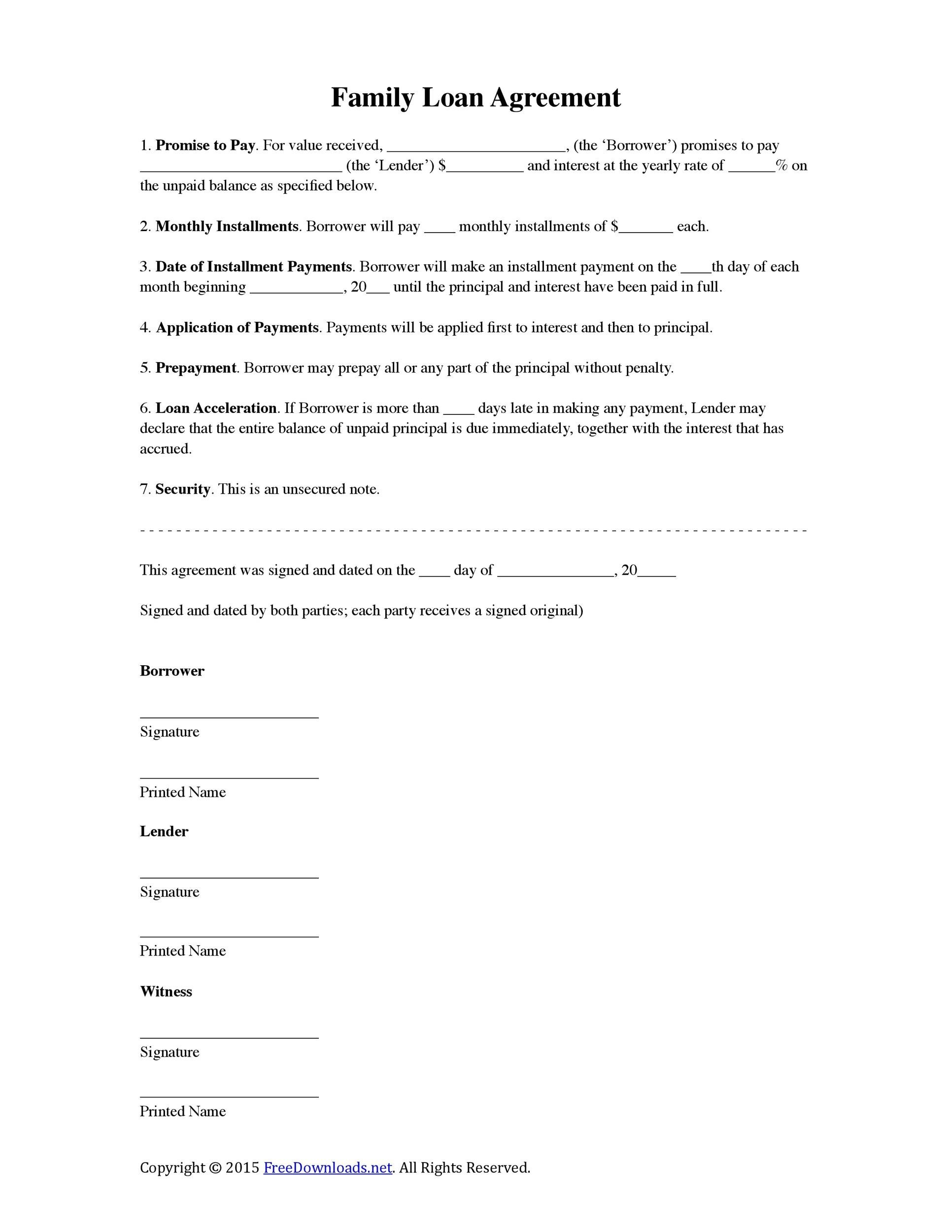 Printable Loan Agreement Template 37  Promise To Pay Template