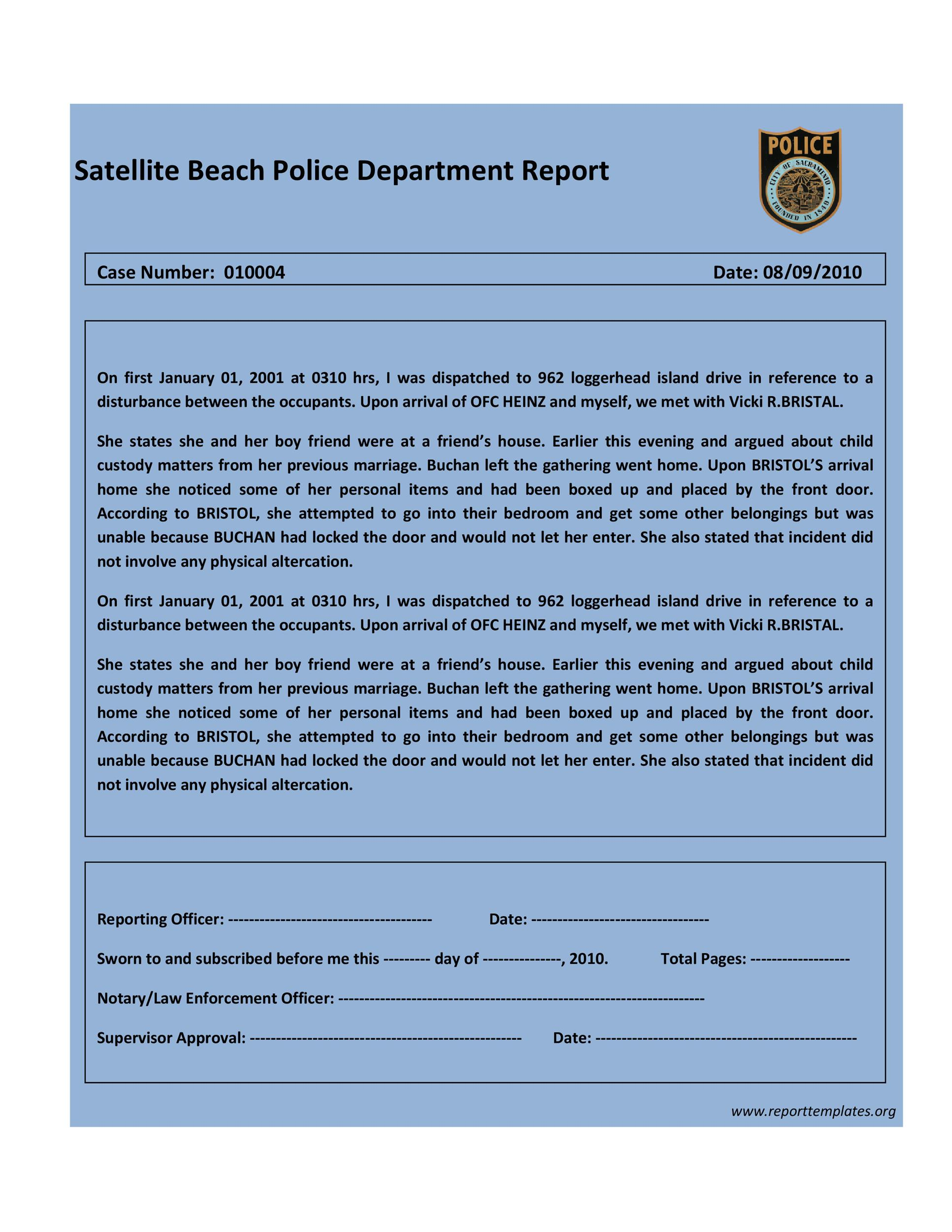 20  police report template  u0026 examples  fake    real   u1405