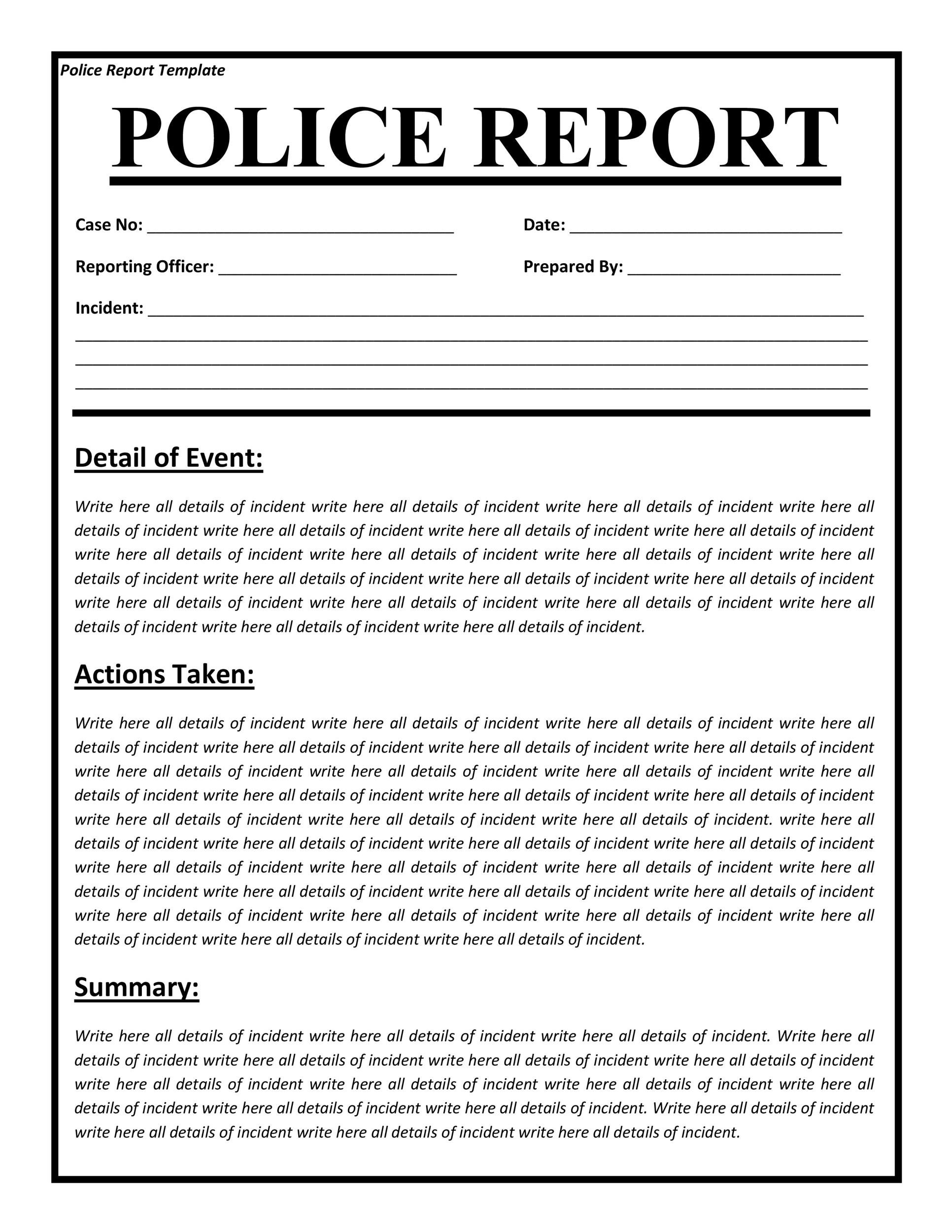 Free police report template 03