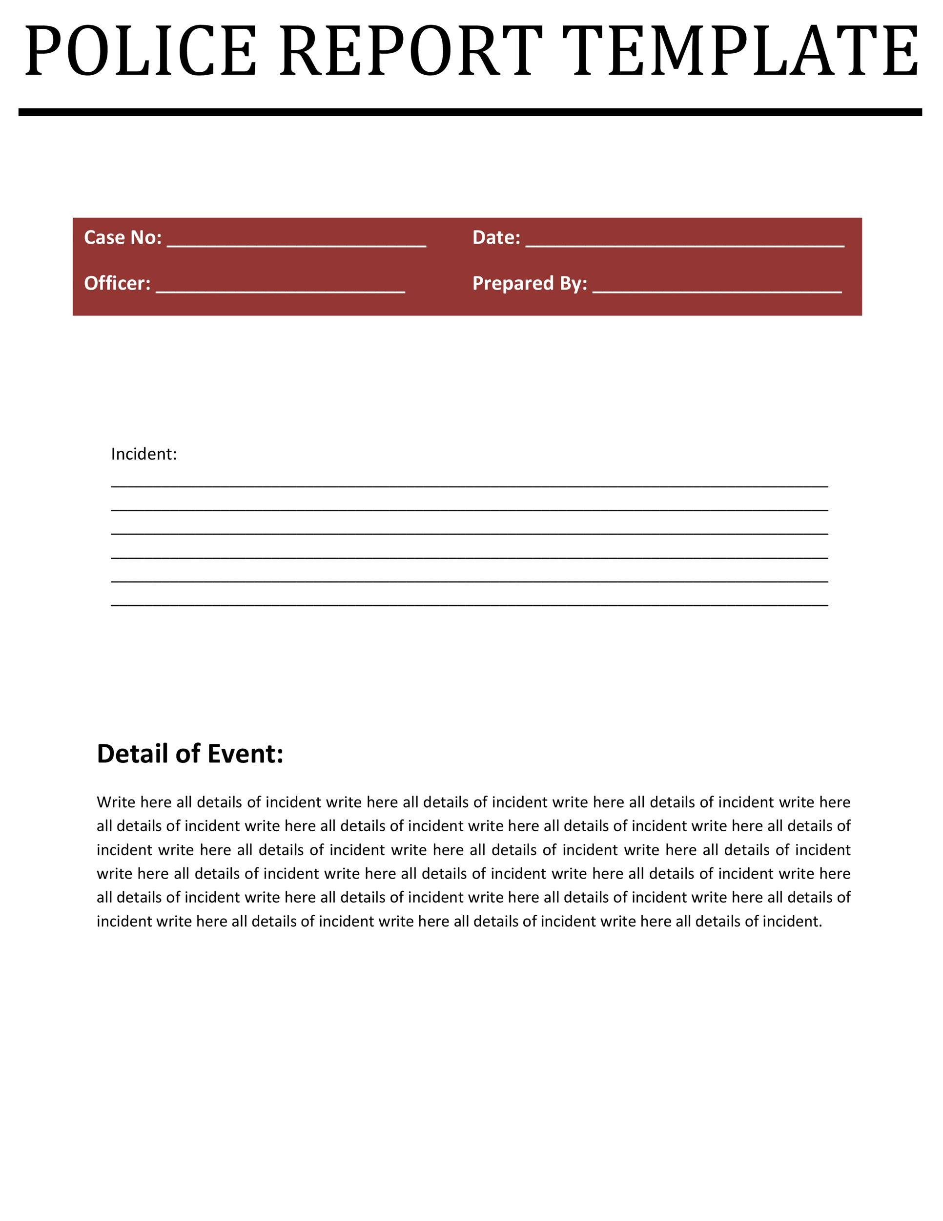Free police report template 04