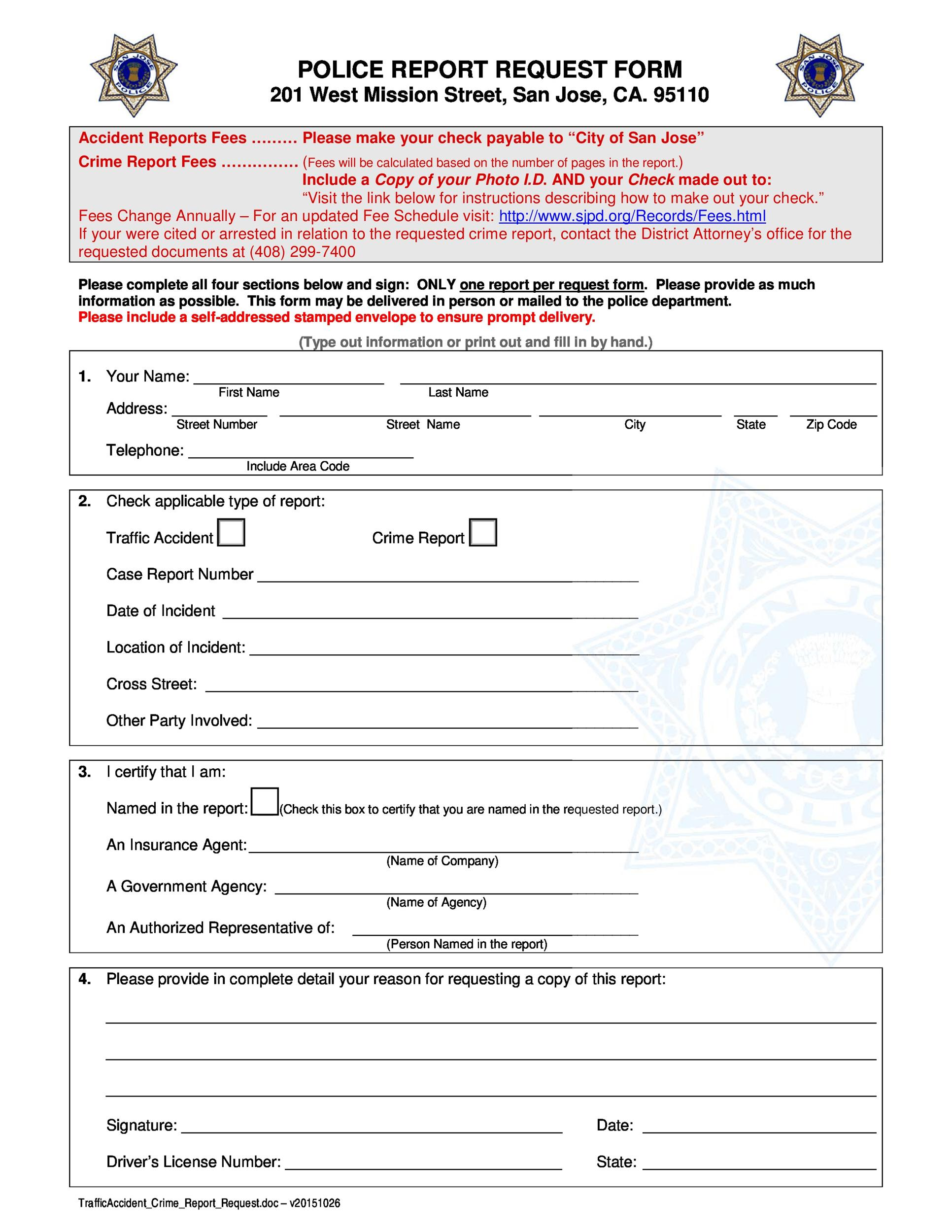 Free police report template 05
