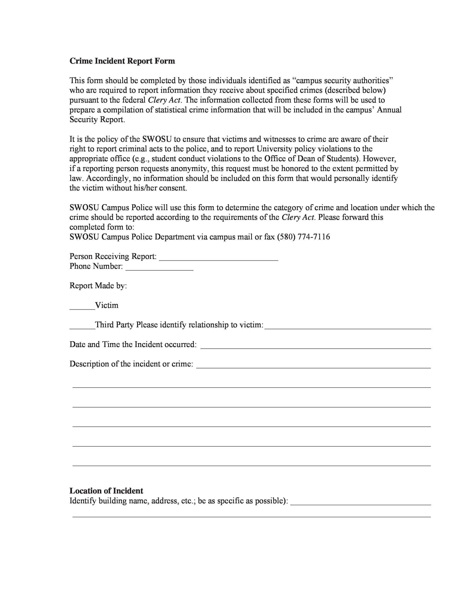Free police report template 07