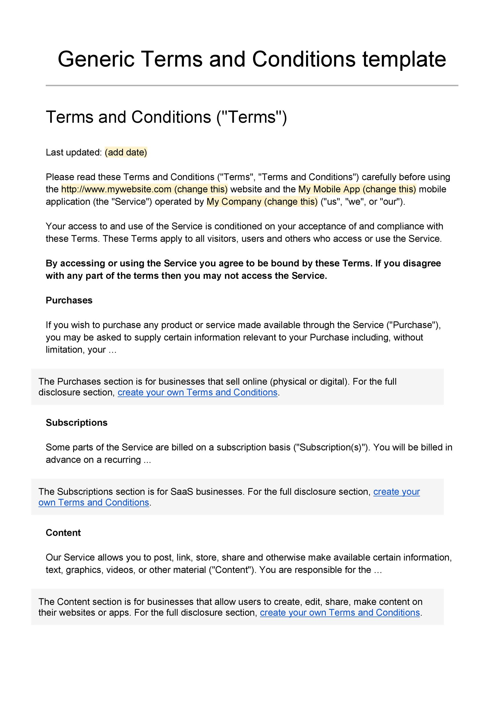 Terms And Conditions Template Free