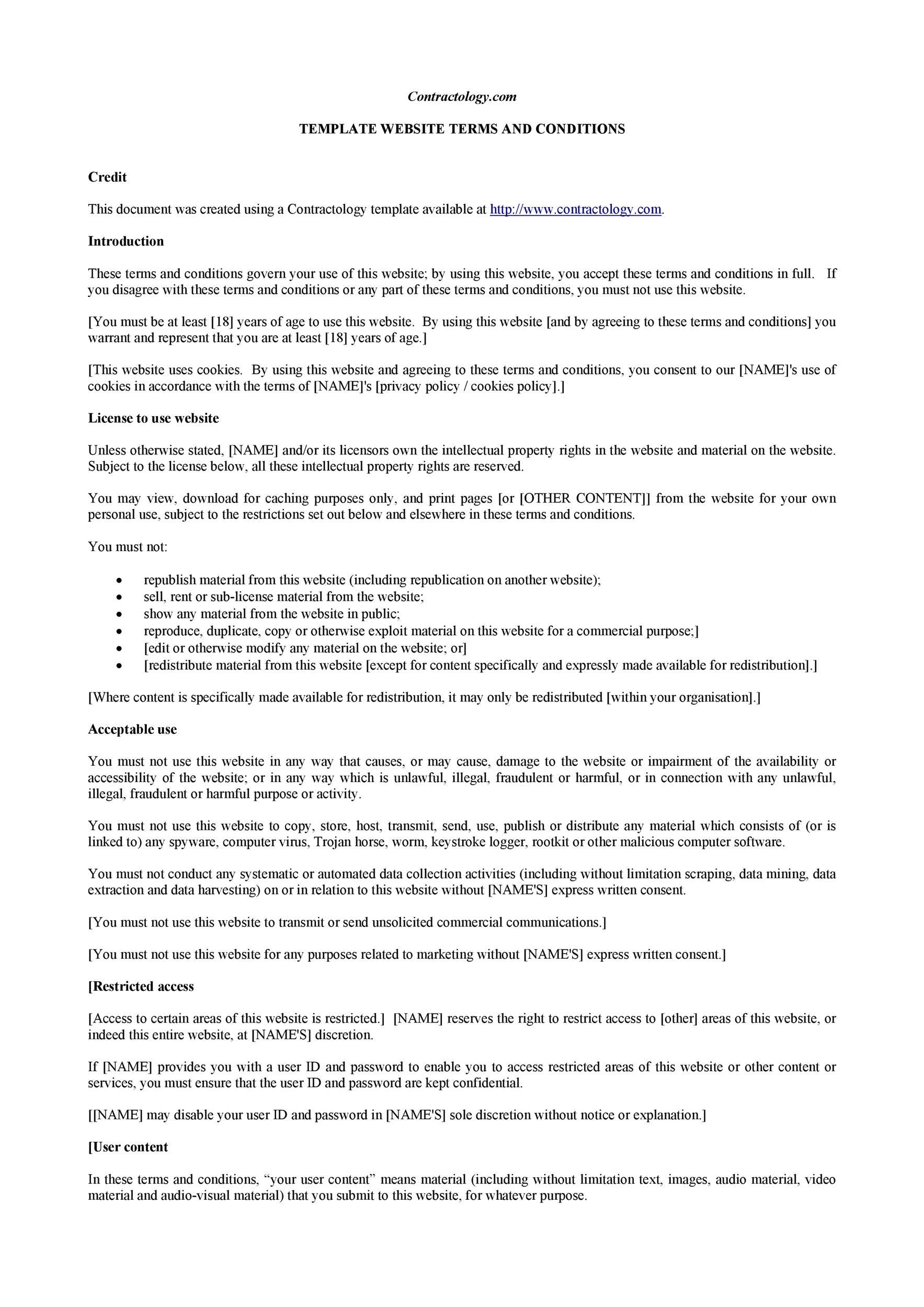 Free terms and conditions template 04