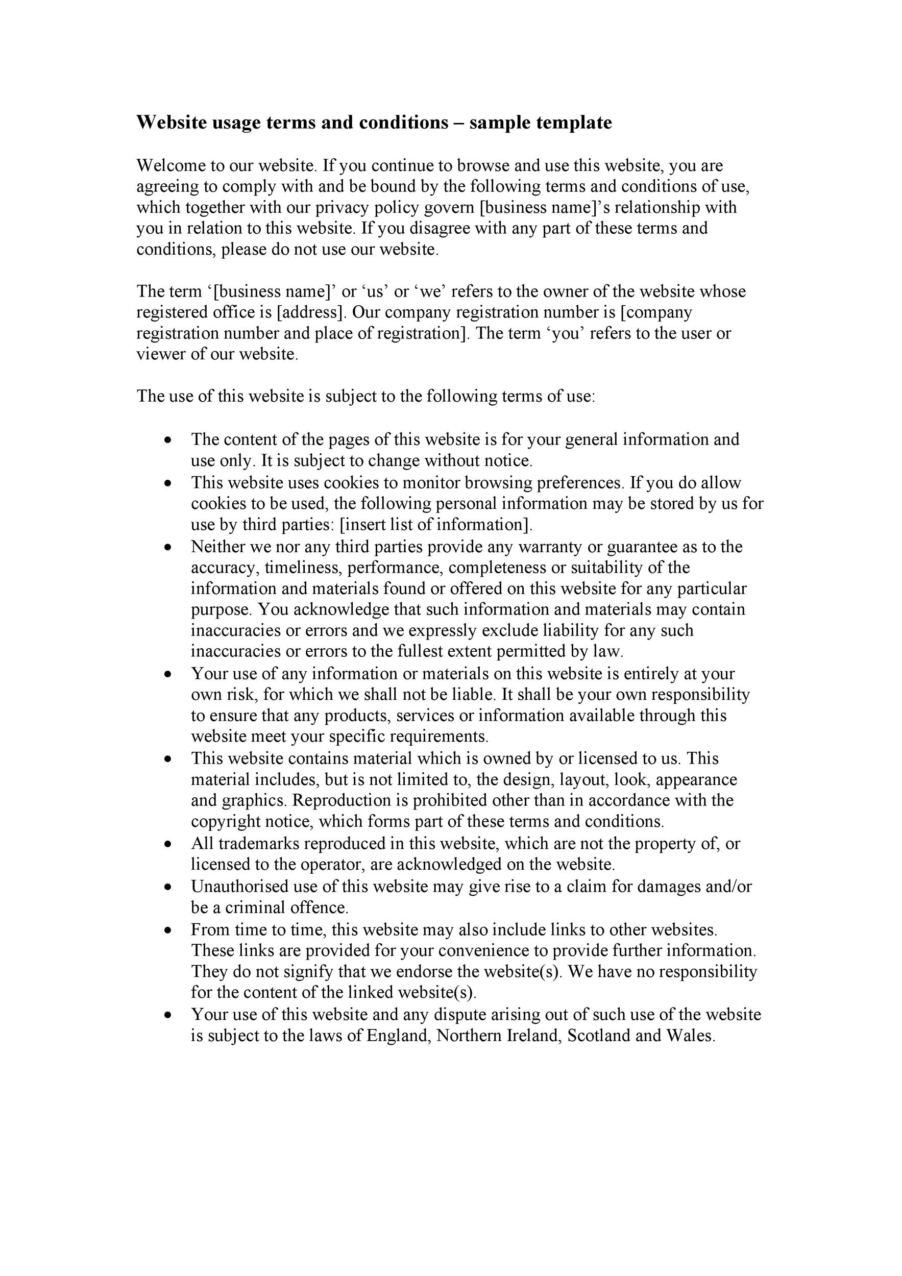Free terms and conditions template 05