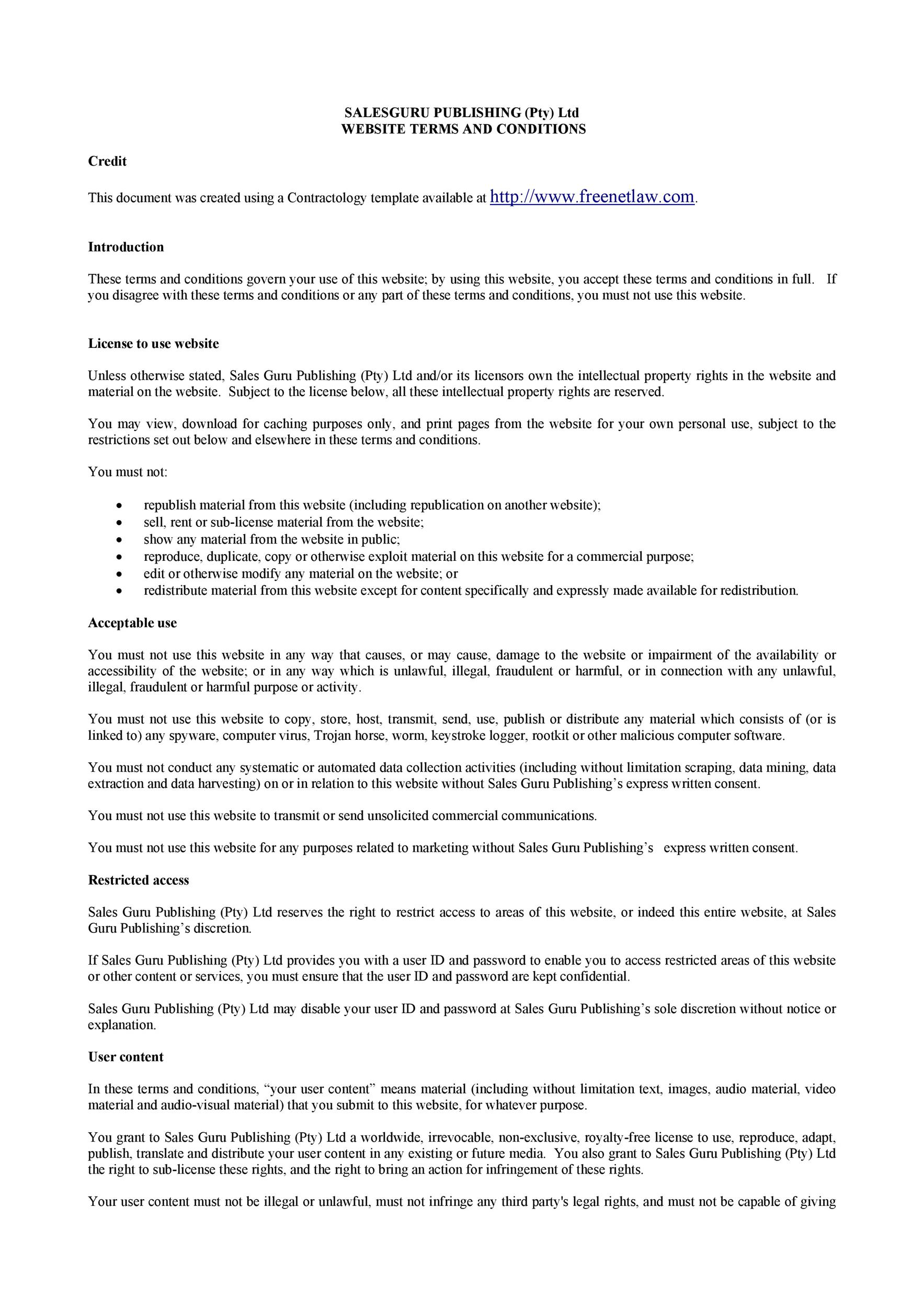 Free terms and conditions template 21
