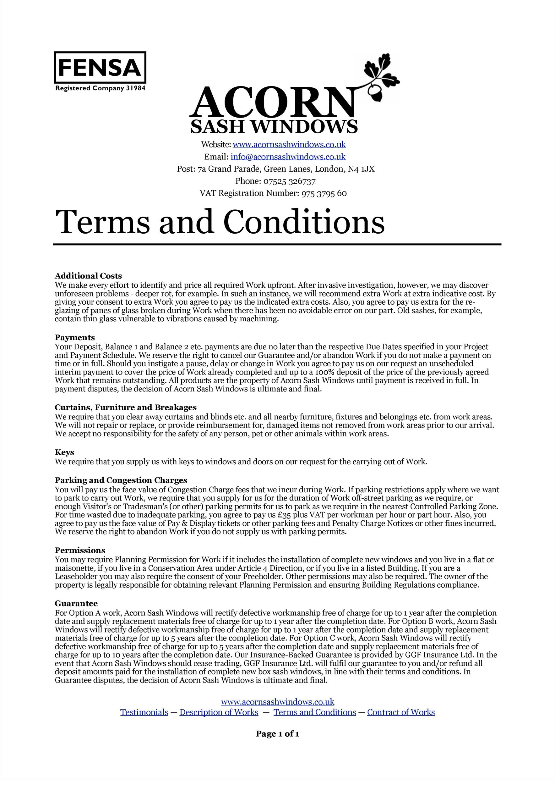Terms And Condition Template