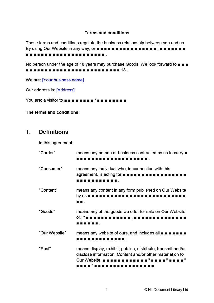 Free terms and conditions template 29