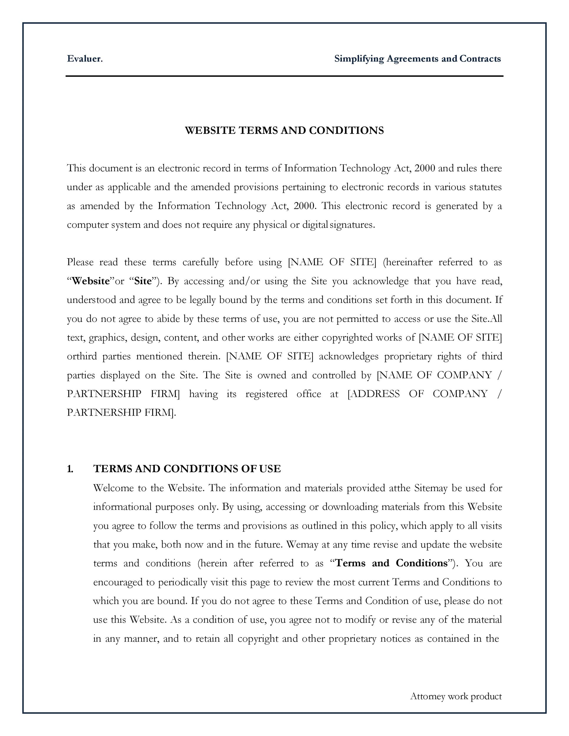Free terms and conditions template 30