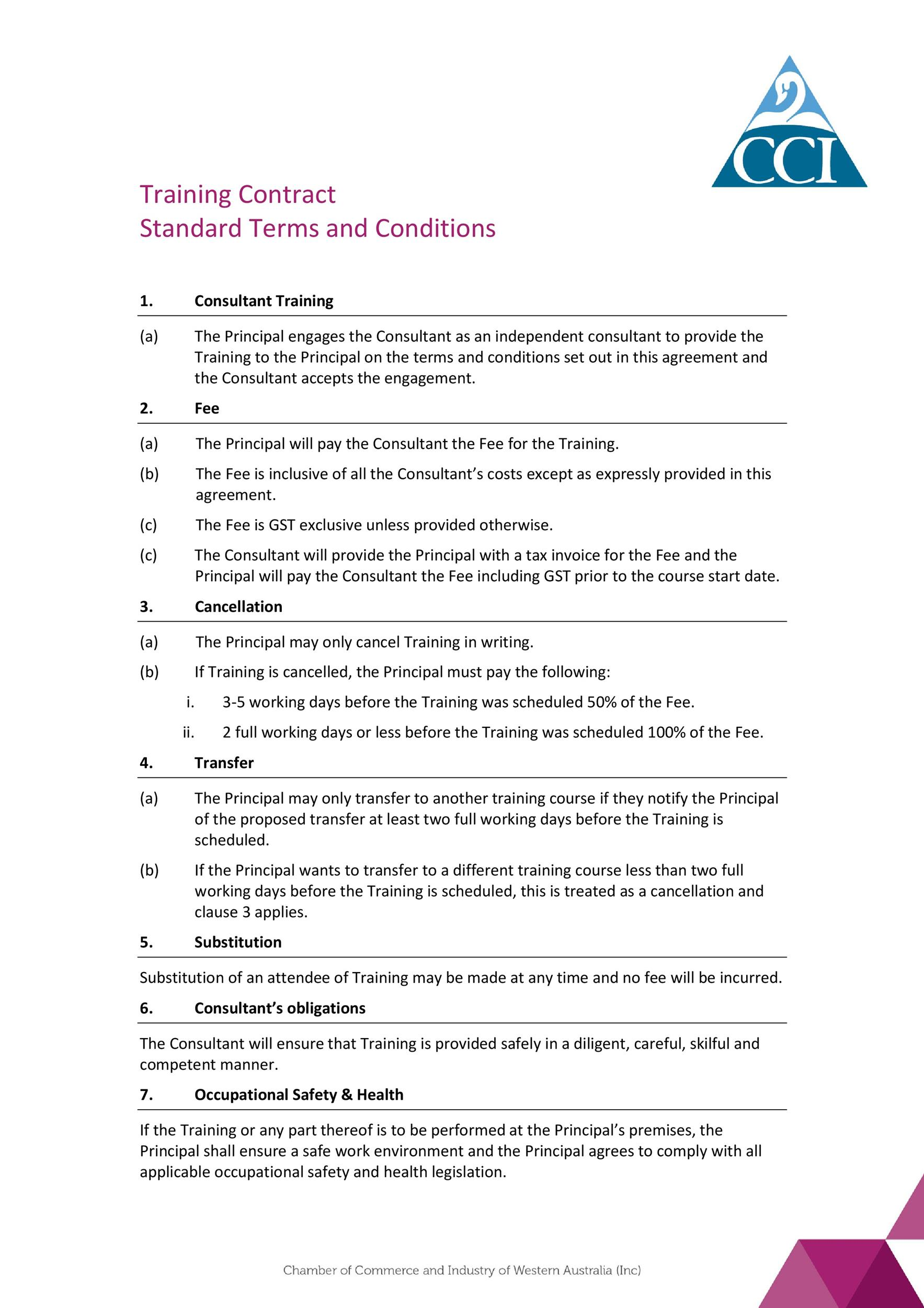 Training terms and conditions template gallery template for Term and condition template