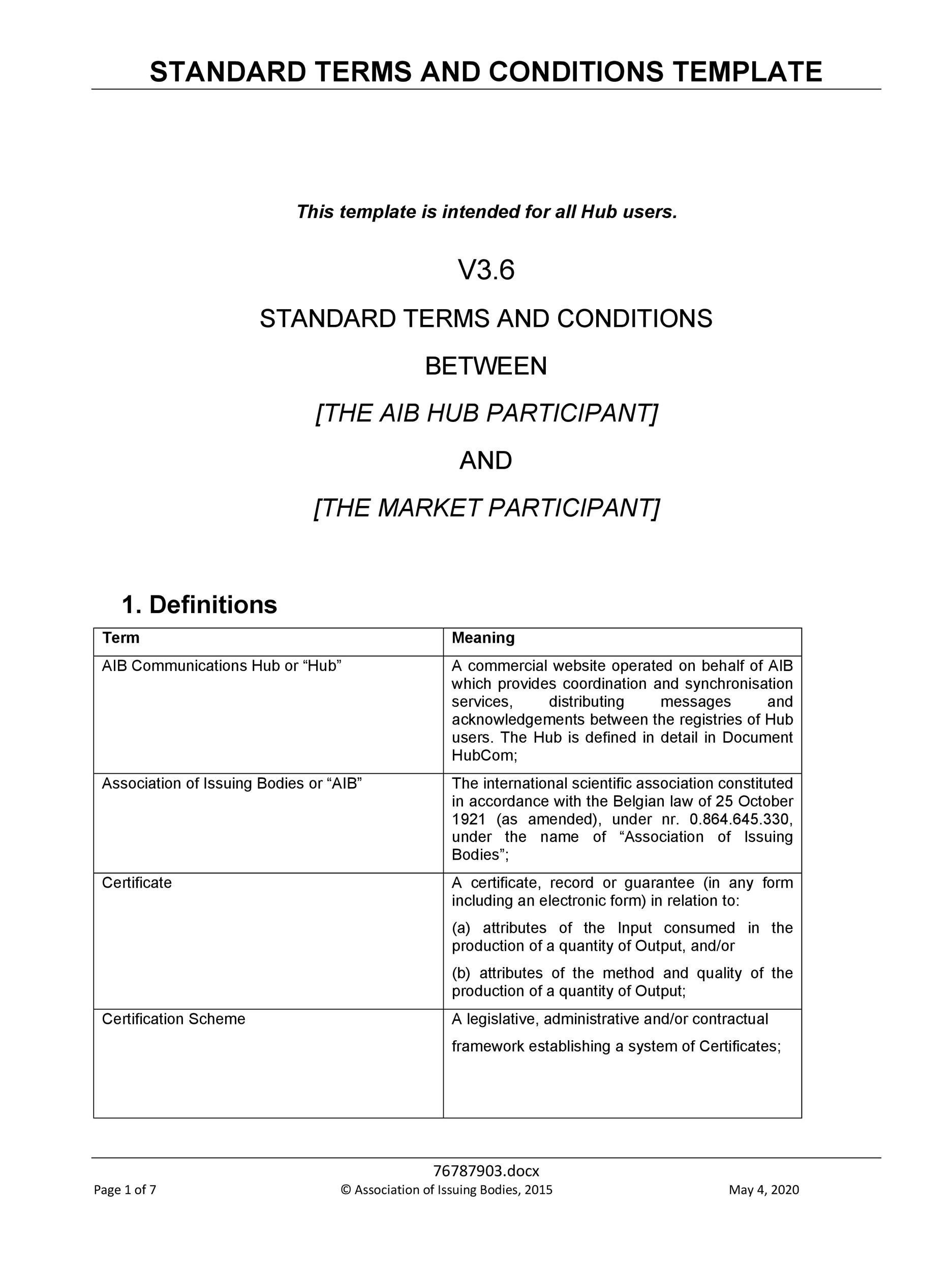 Commercial terms and conditions template choice image for Terms and conditions for online shop template