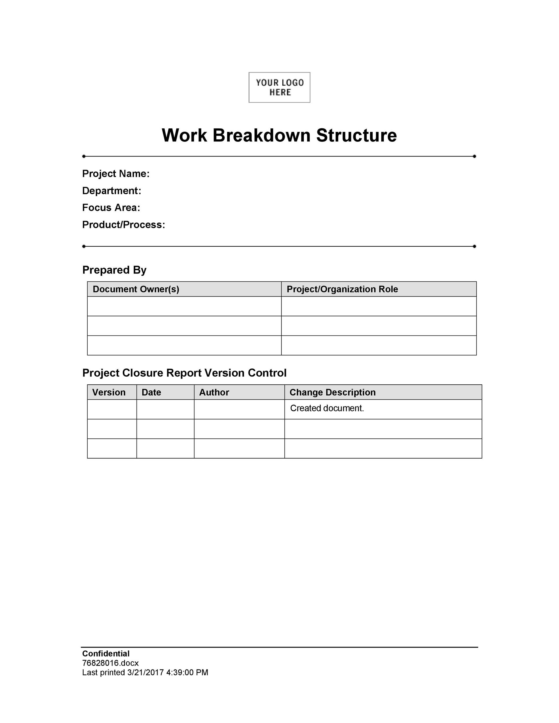 Free work breakdown structure template 07