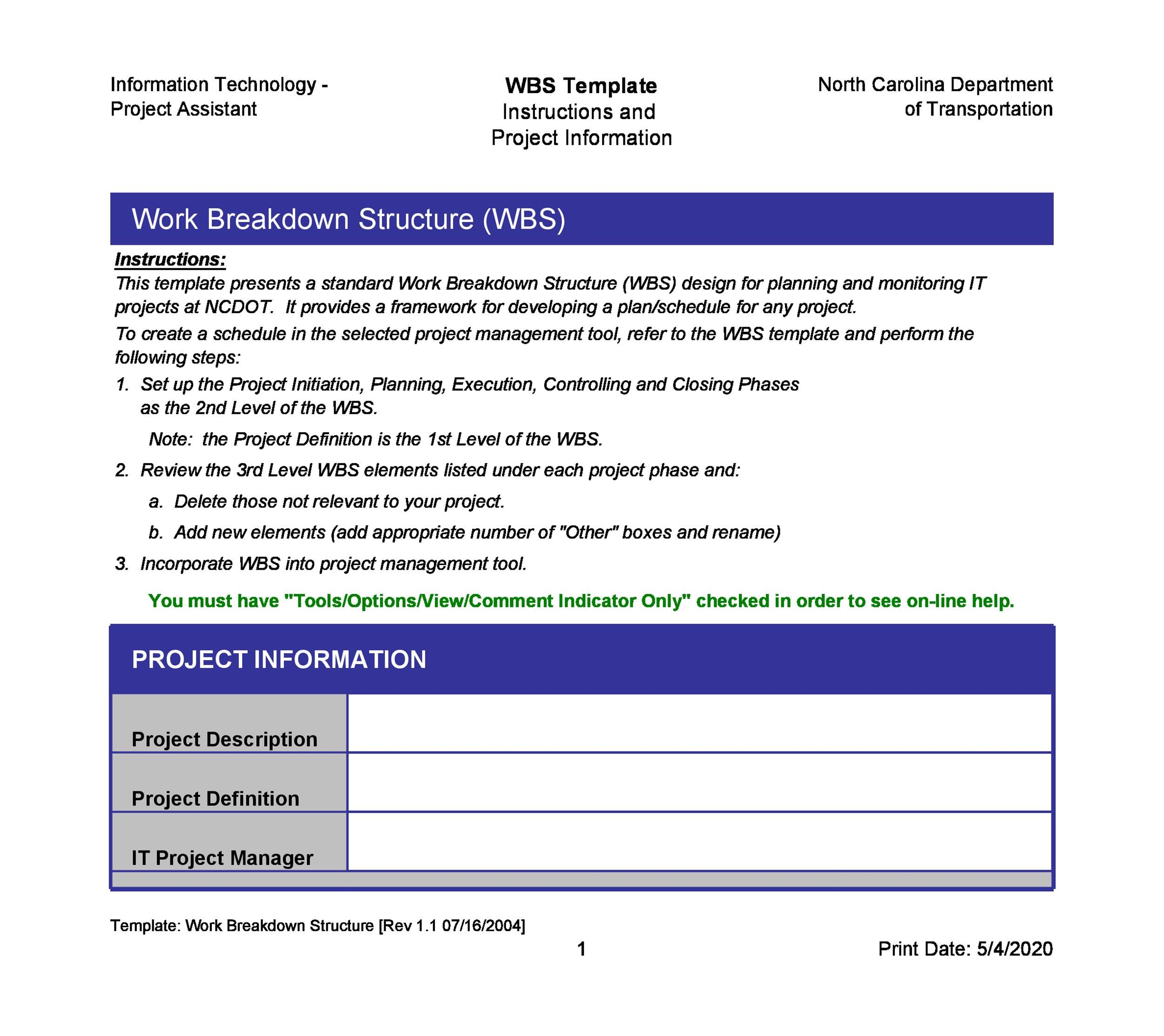 The Work Breakdown Structure Template - Microsoft Word ... |Work Breakdown Template