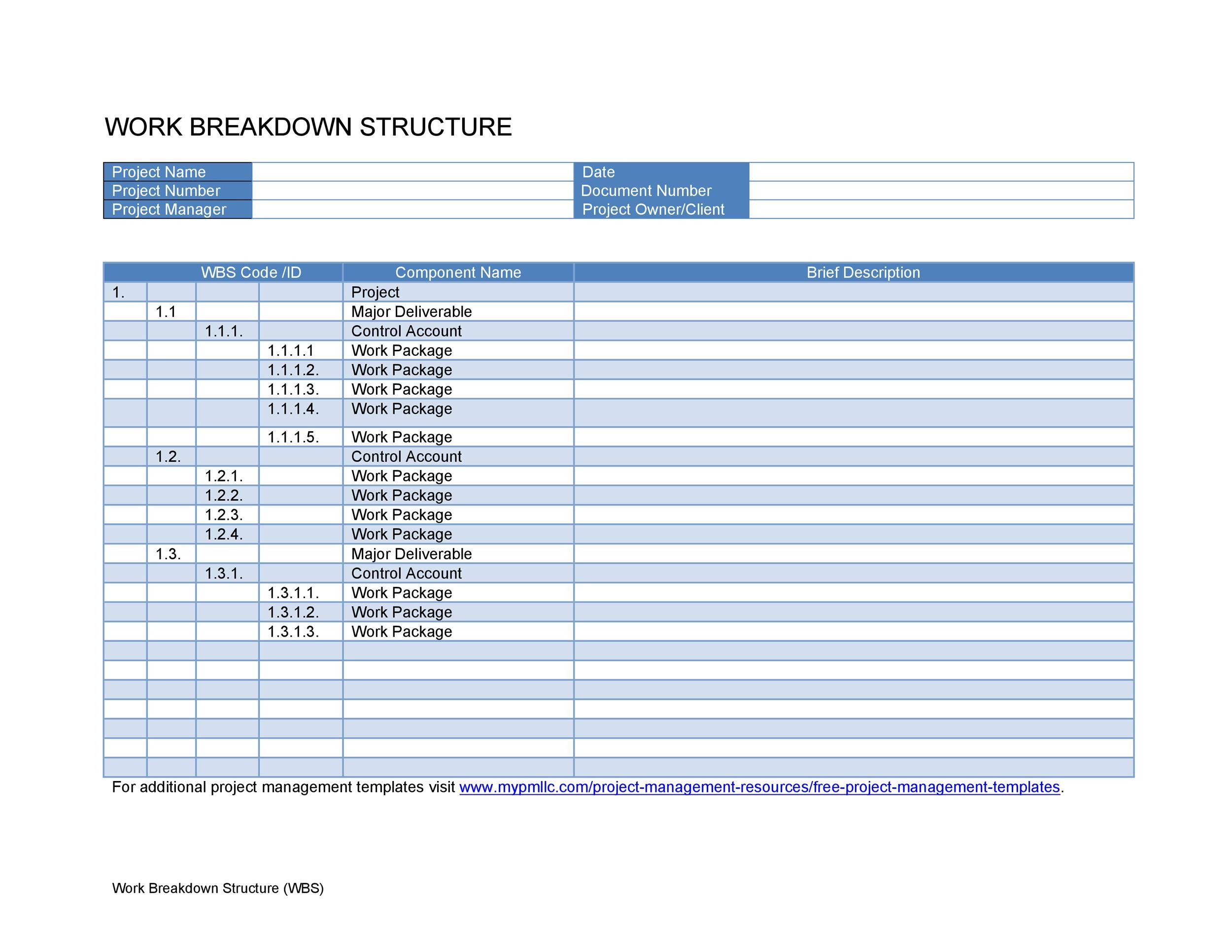 Free work breakdown structure template 09