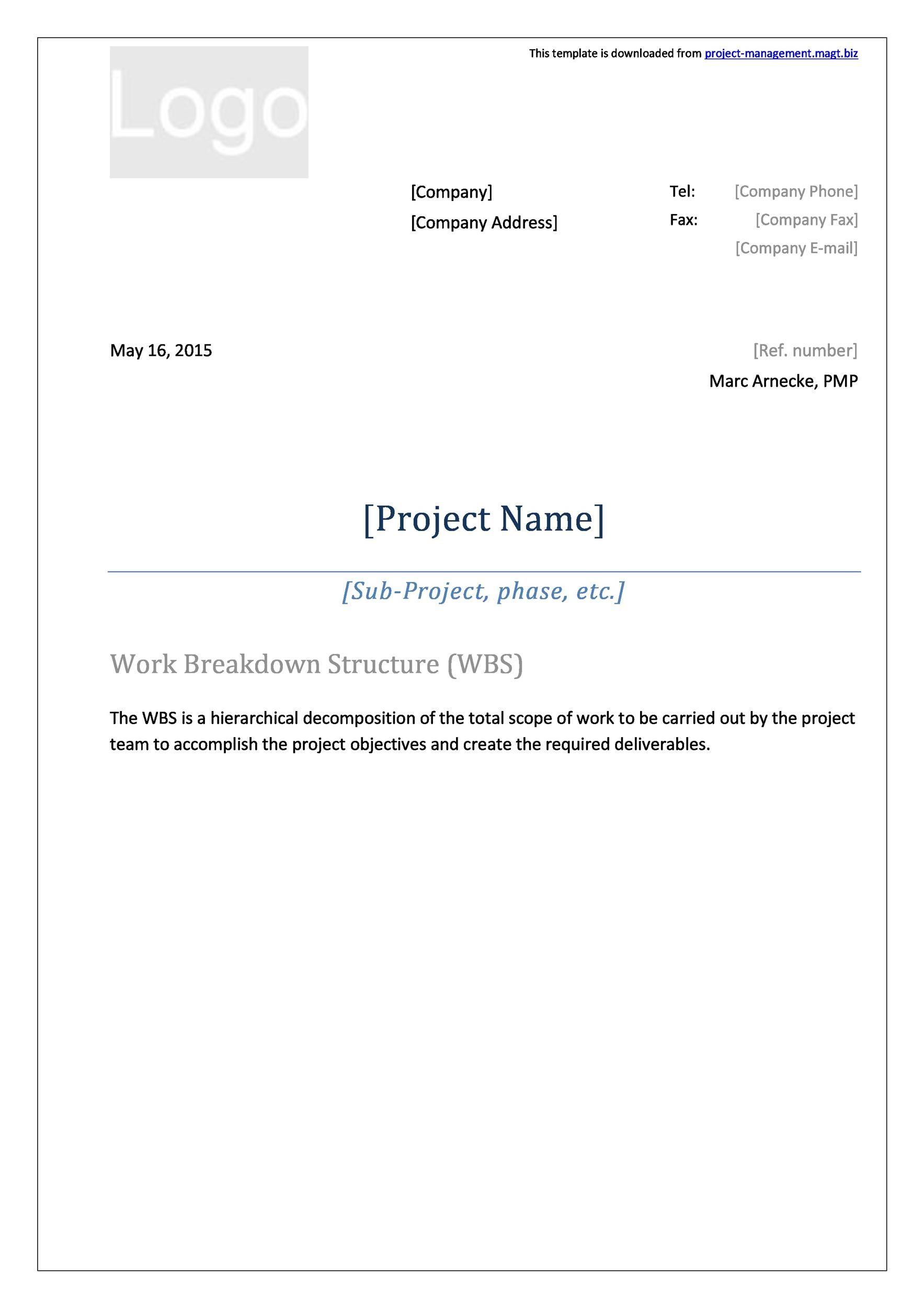 Free work breakdown structure template 21
