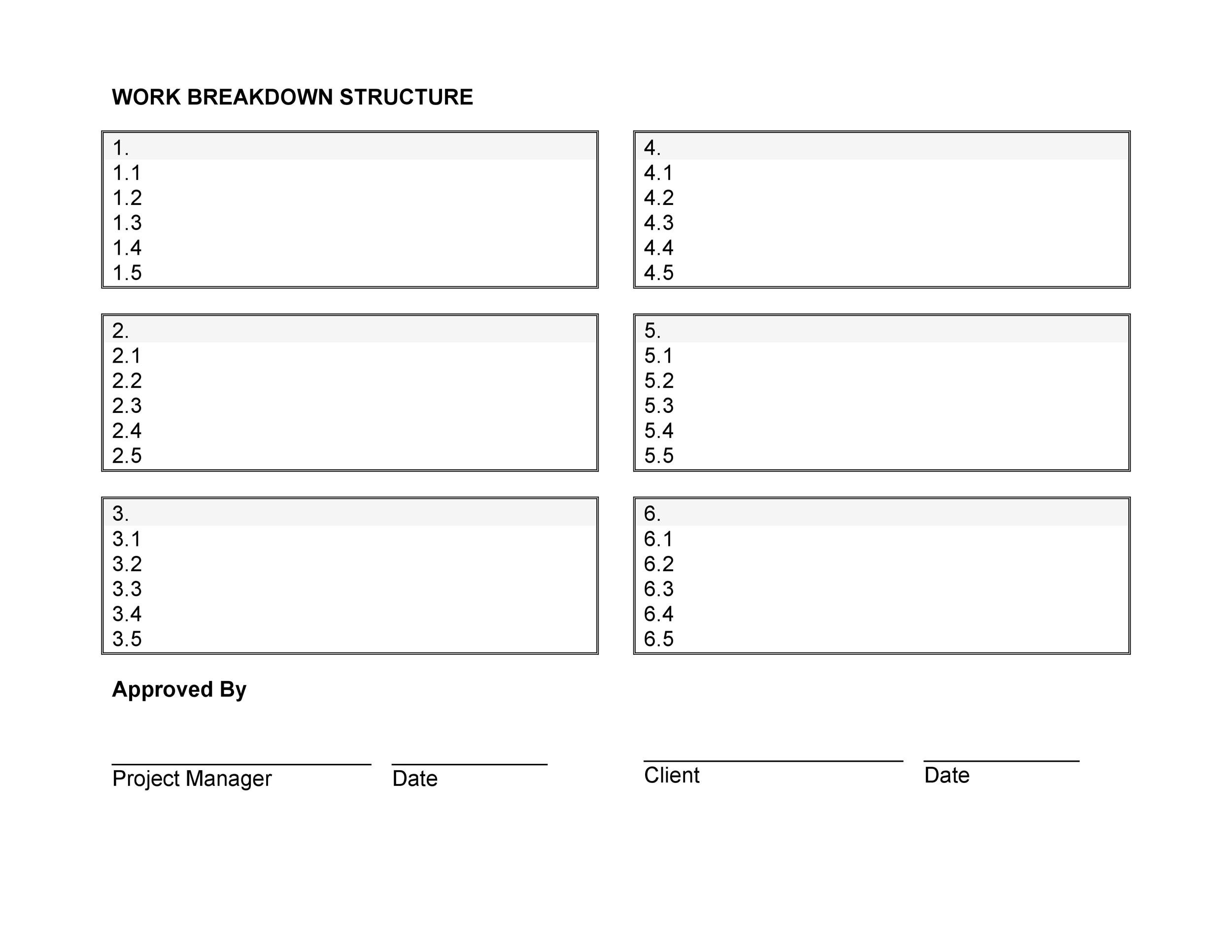 Free work breakdown structure template 27