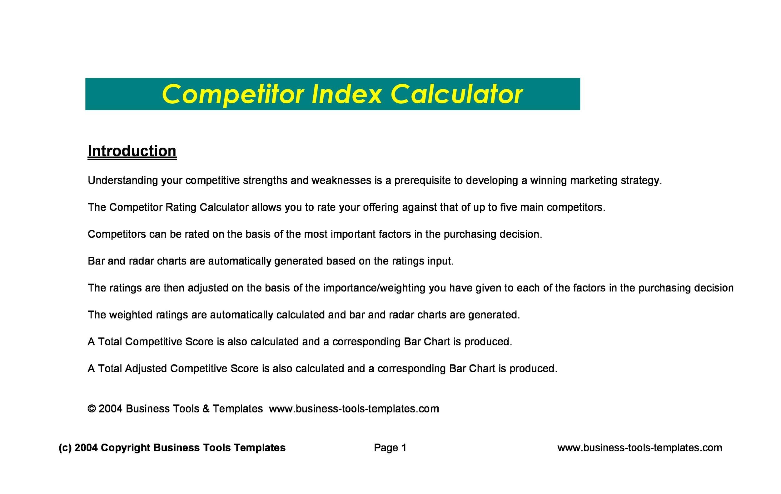 Printable Competitive Analysis Template 25