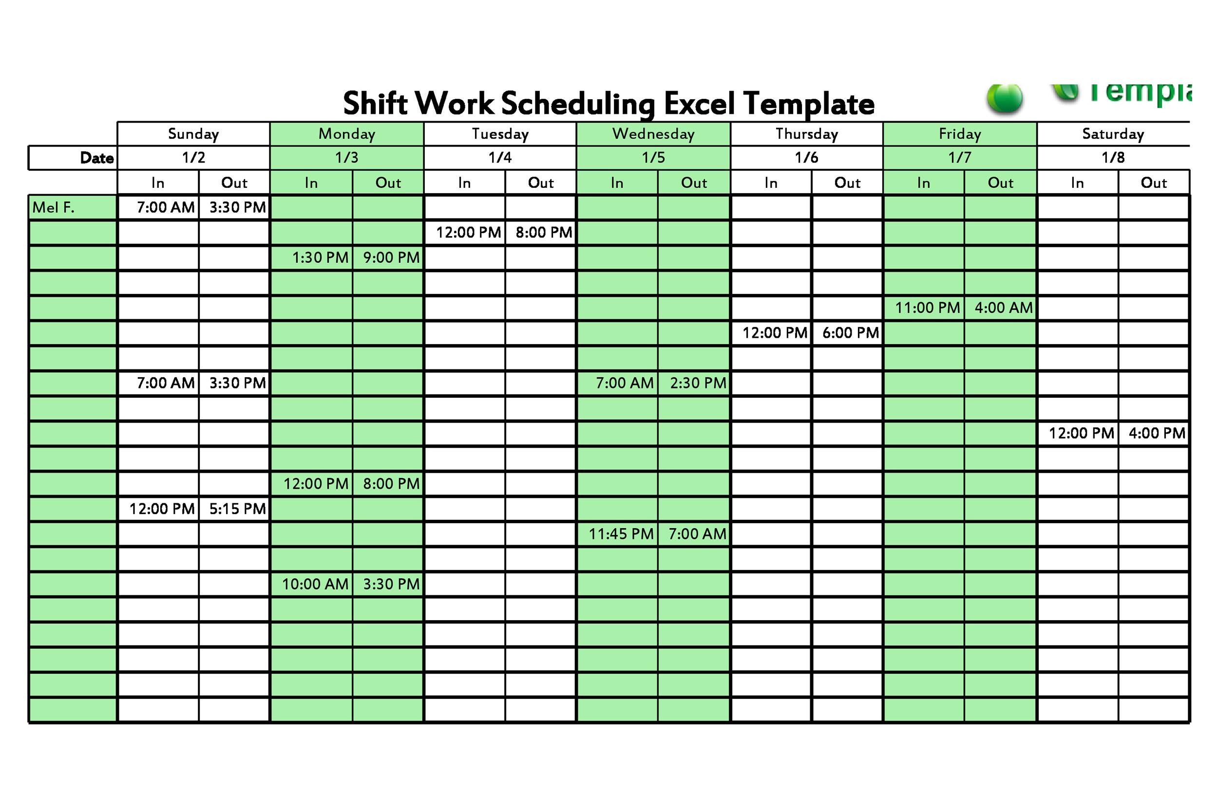 Free Dupont Schedule Template 08