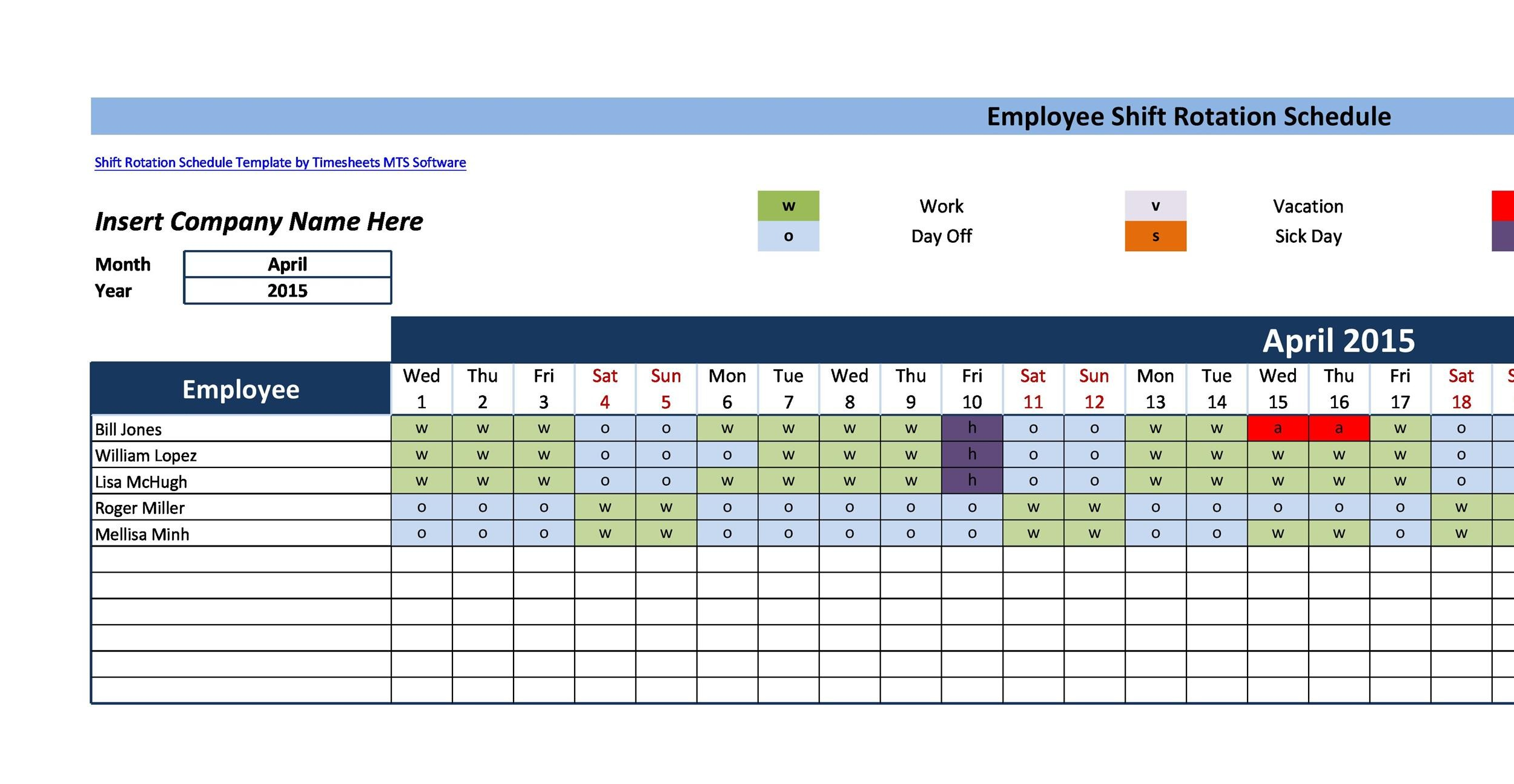 Free Dupont Schedule Template 09