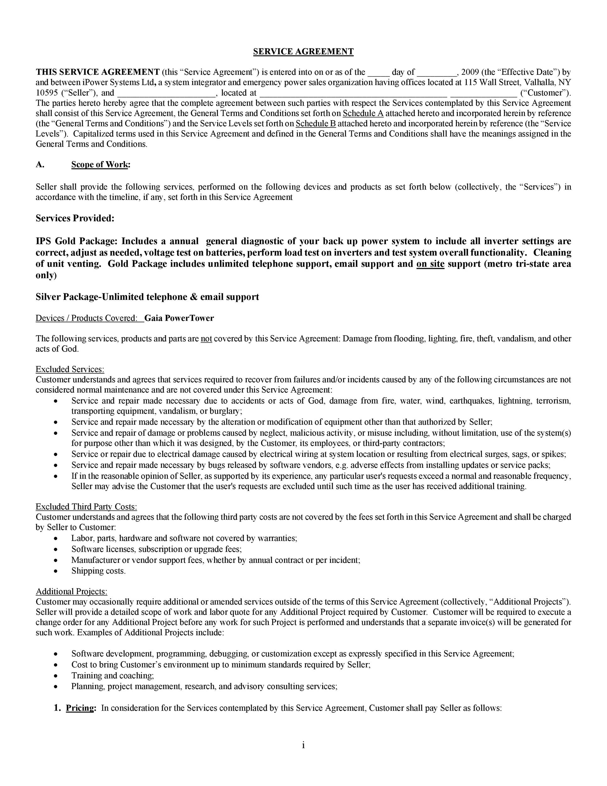 Free Service Agreement Template 01