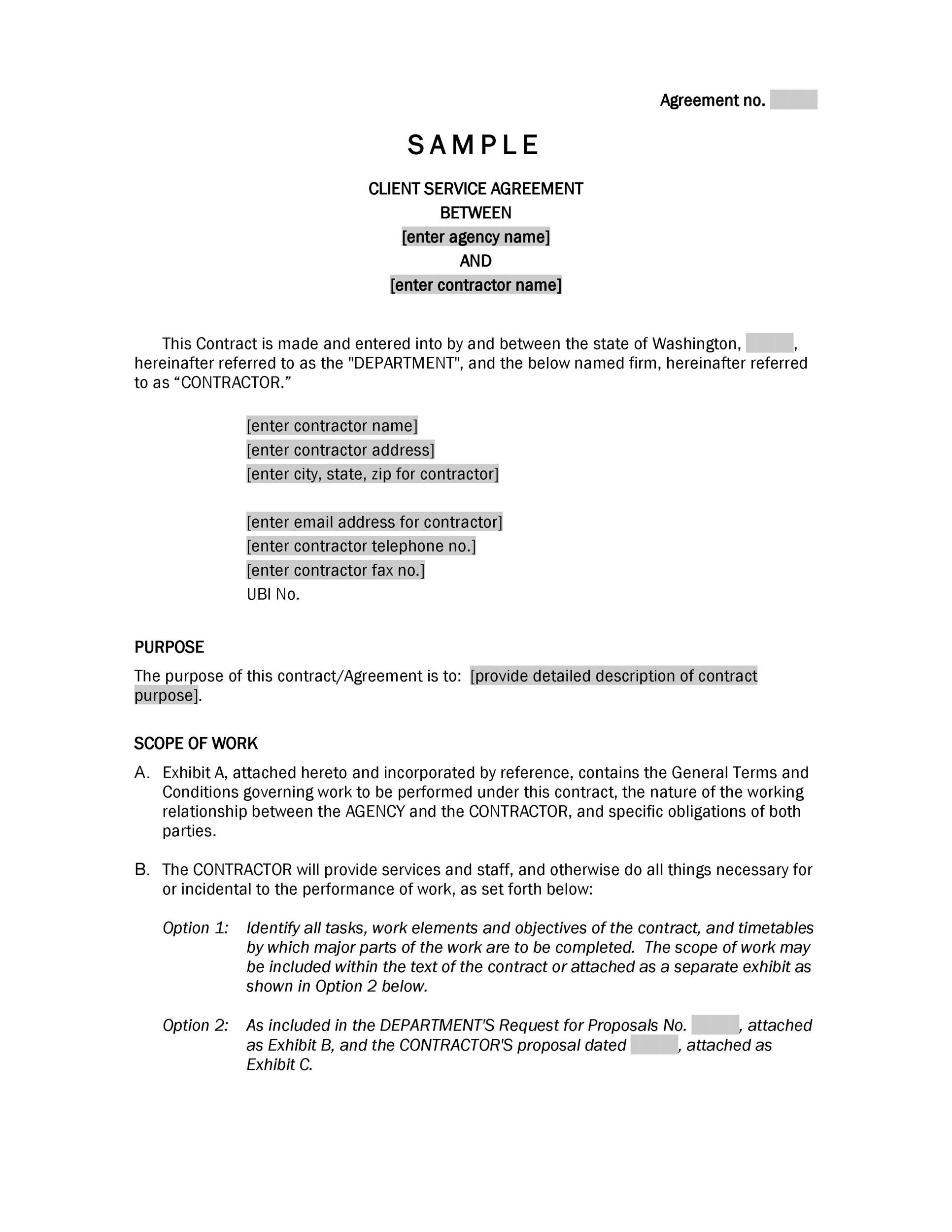 50 professional service agreement templates contracts for Agreement to provide services template