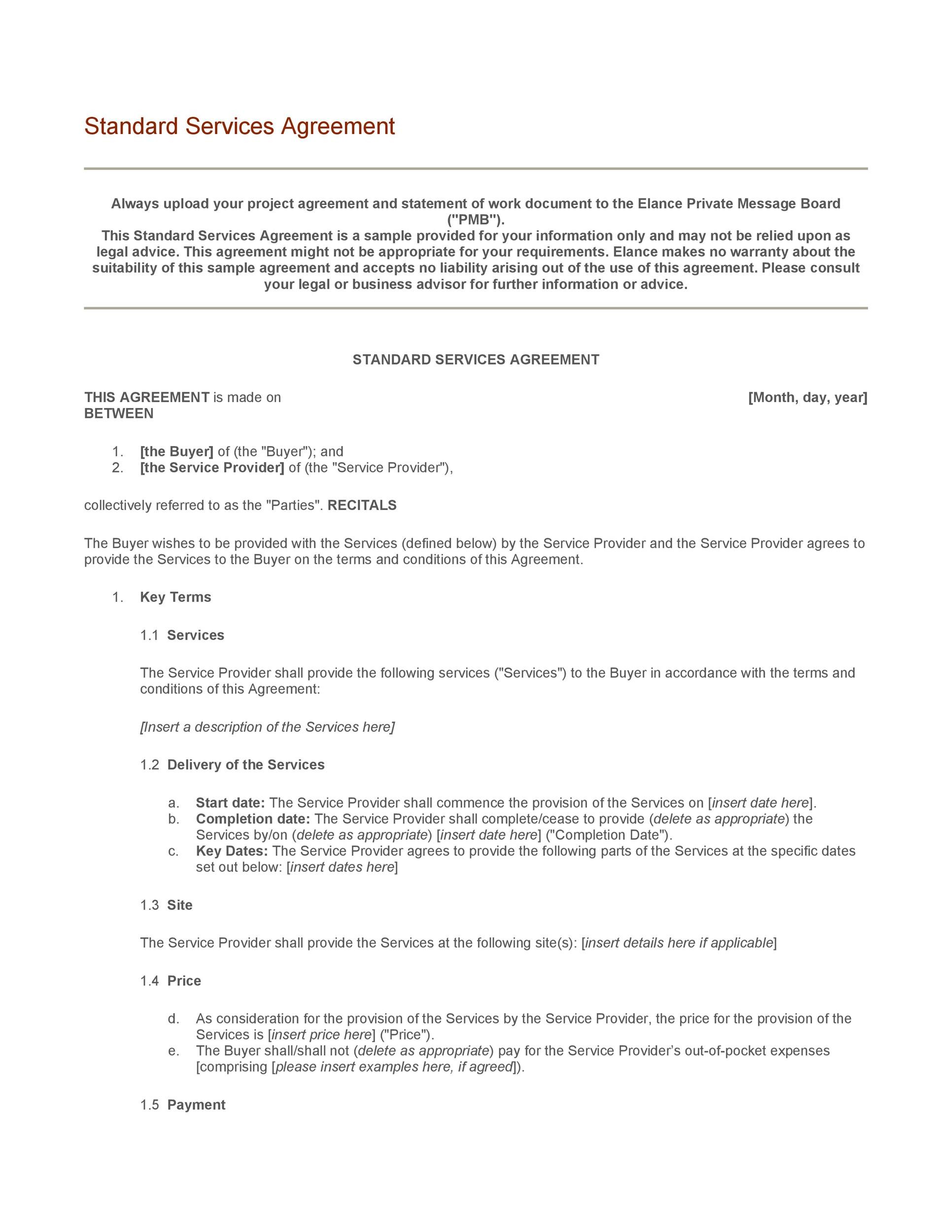 Free Service Agreement Template 09