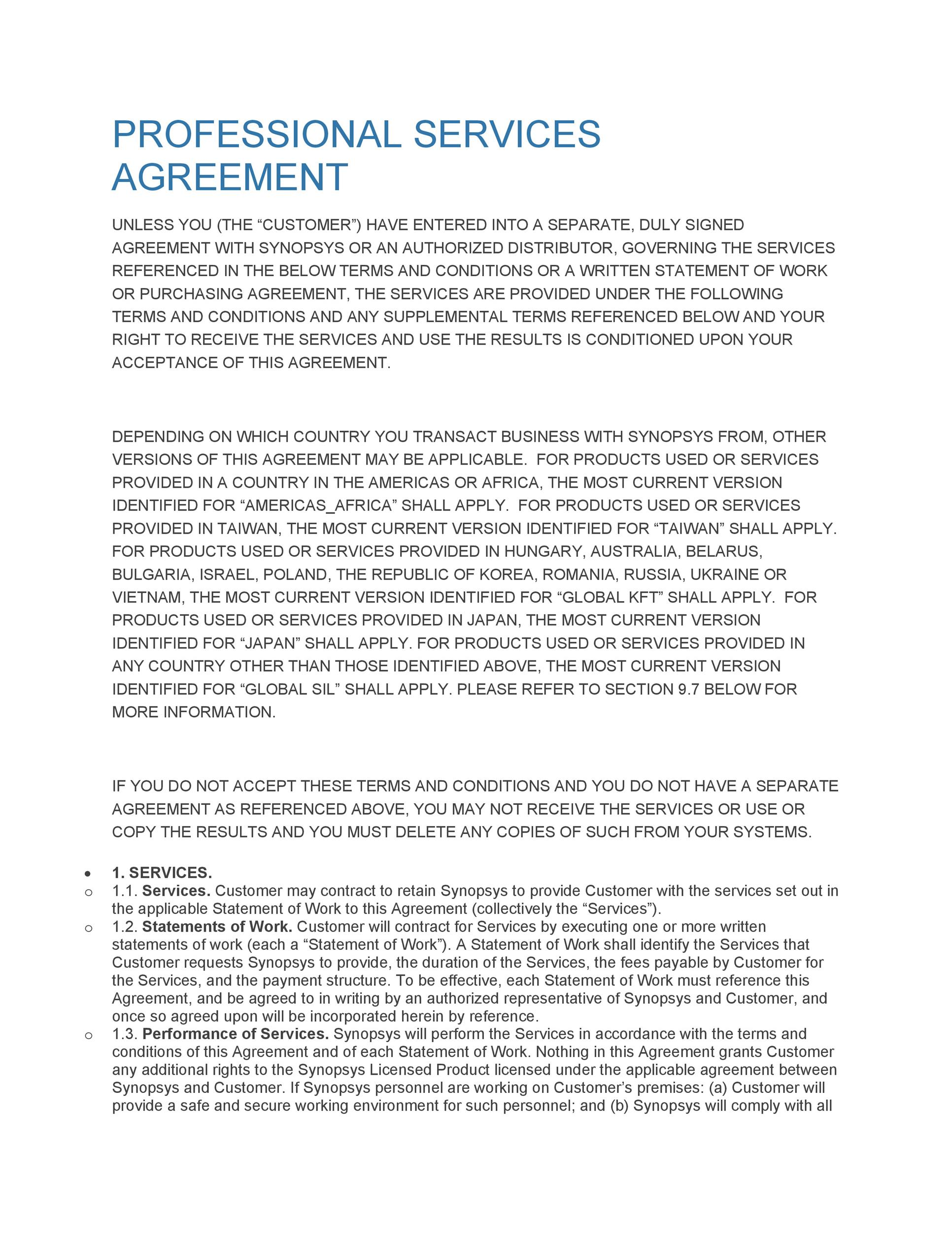 Free Service Agreement Template 14