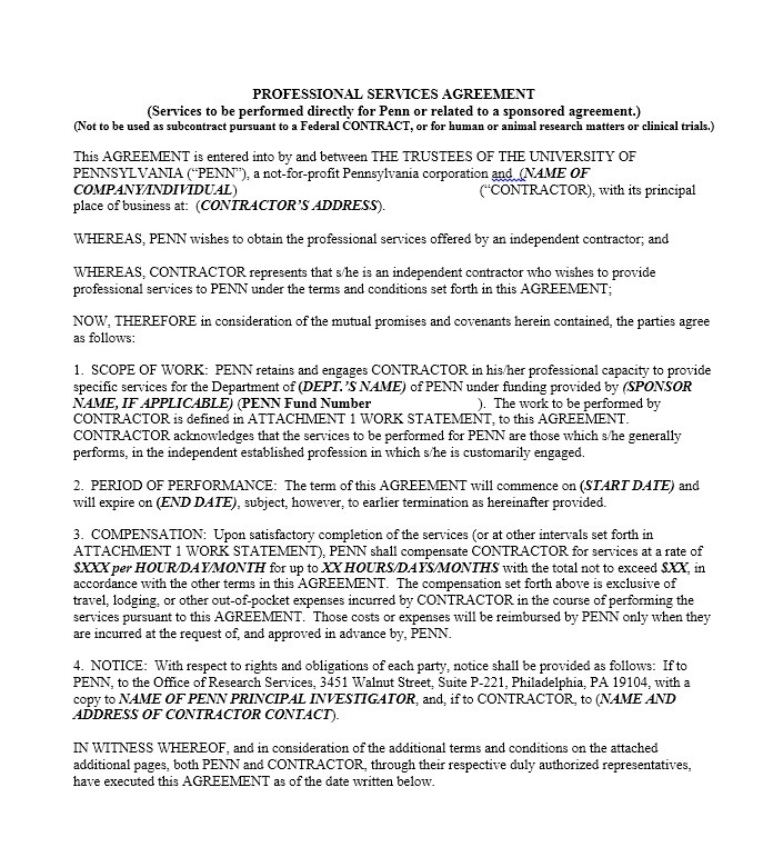 Professional Services Agreement Template Professional