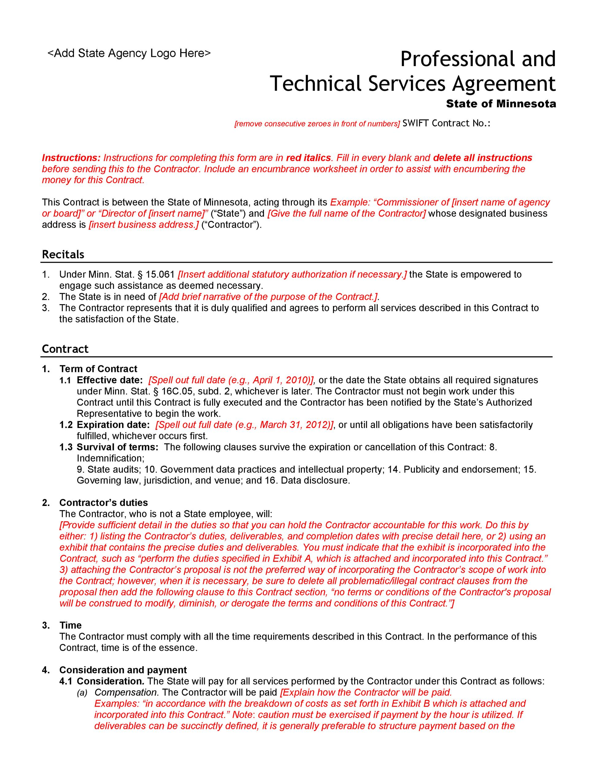 Seo Contract Template Professional Service Agreement Templates