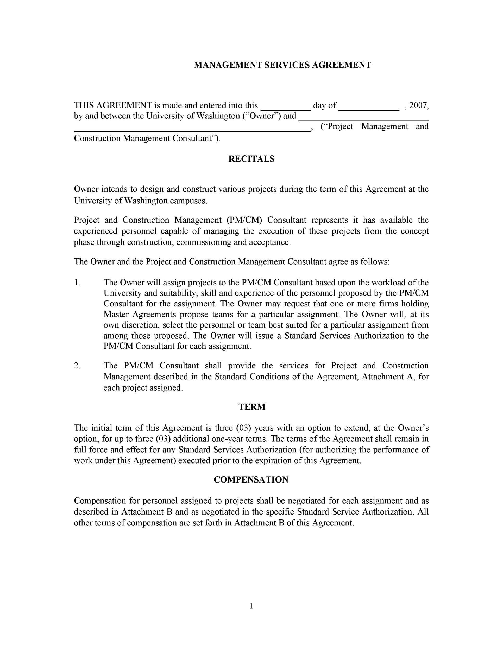 Construction Management Agreement Construction Management