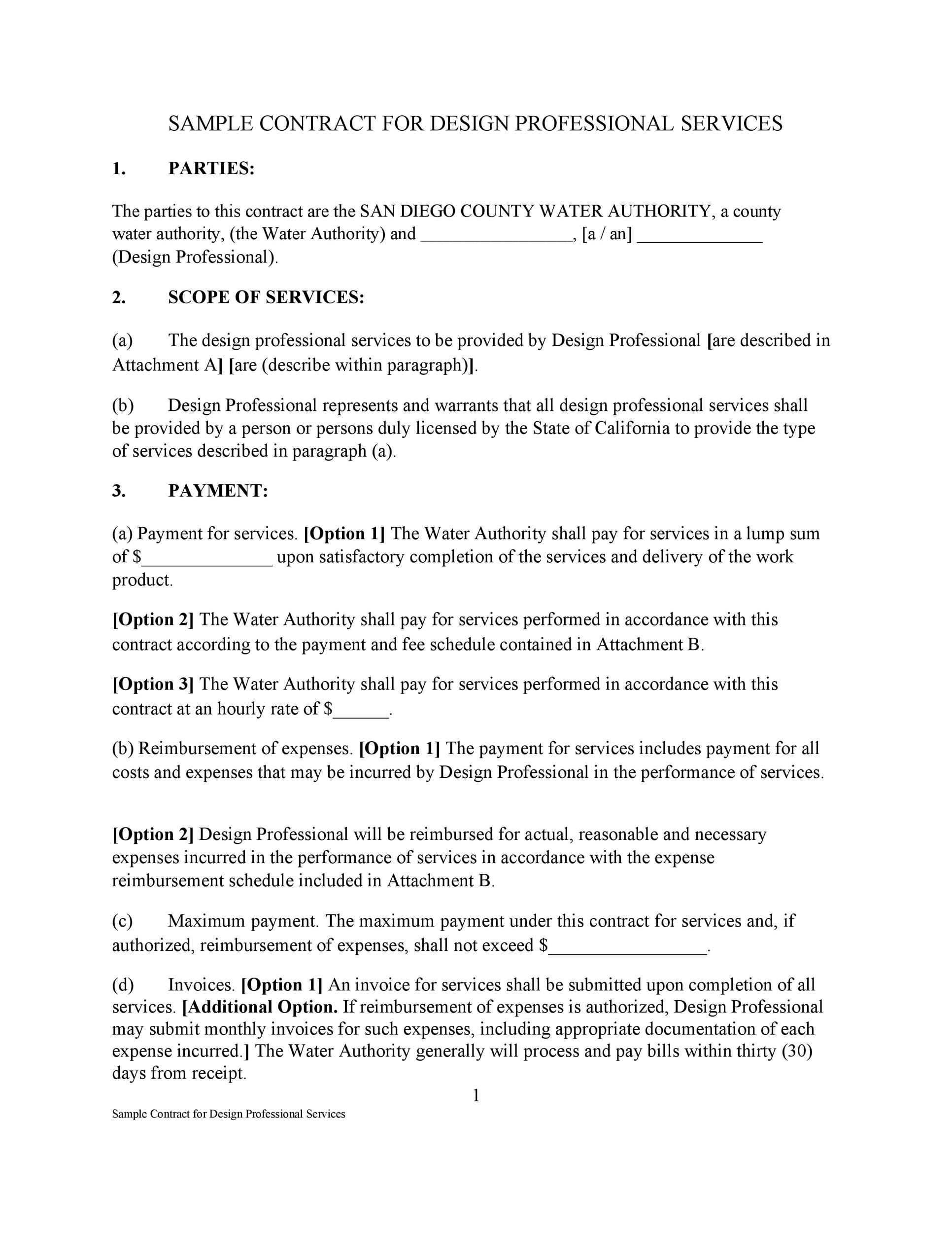 Professional Service Agreement Templates Contracts - Fee for service contract template