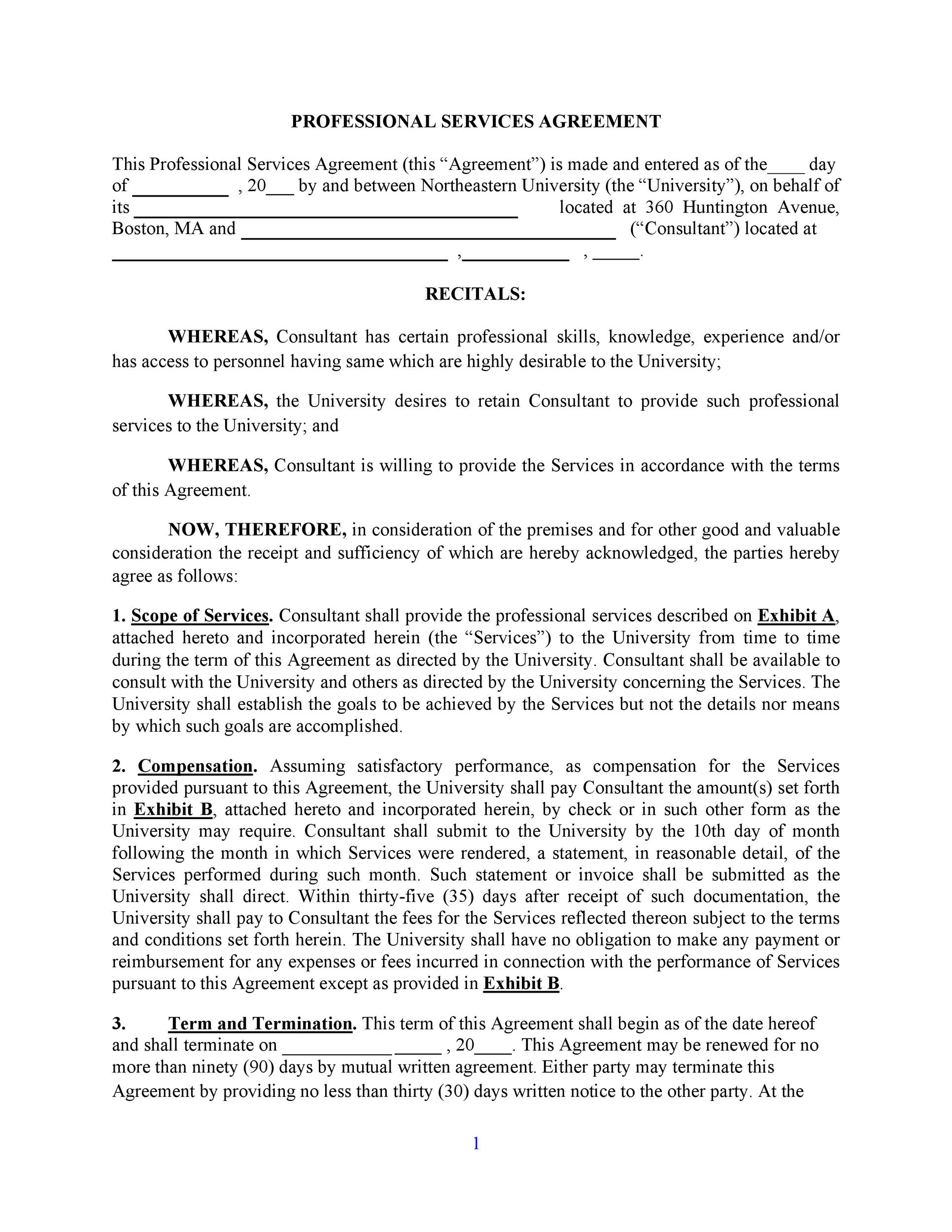 50 Professional Service Agreement Templates Contracts