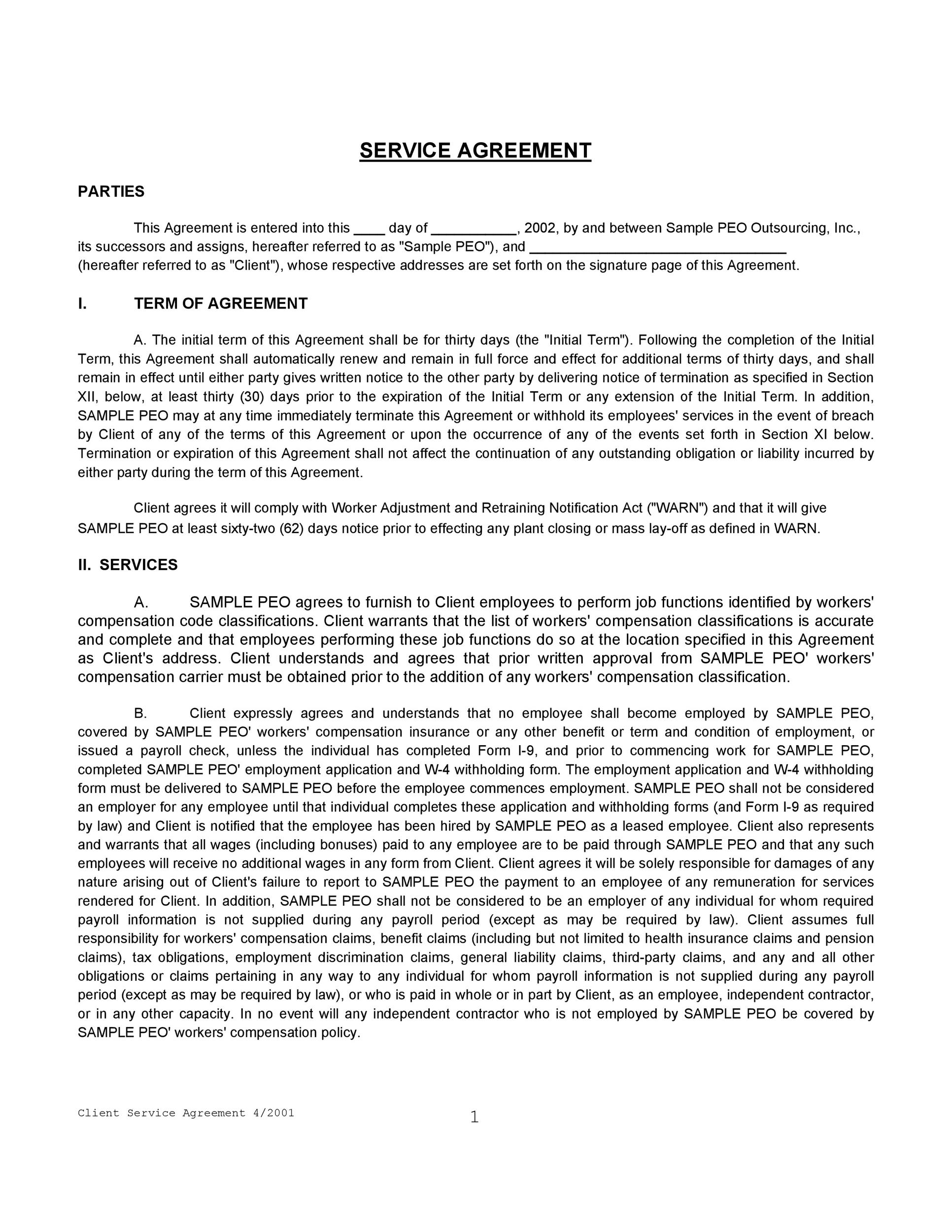 Free Service Agreement Template 41