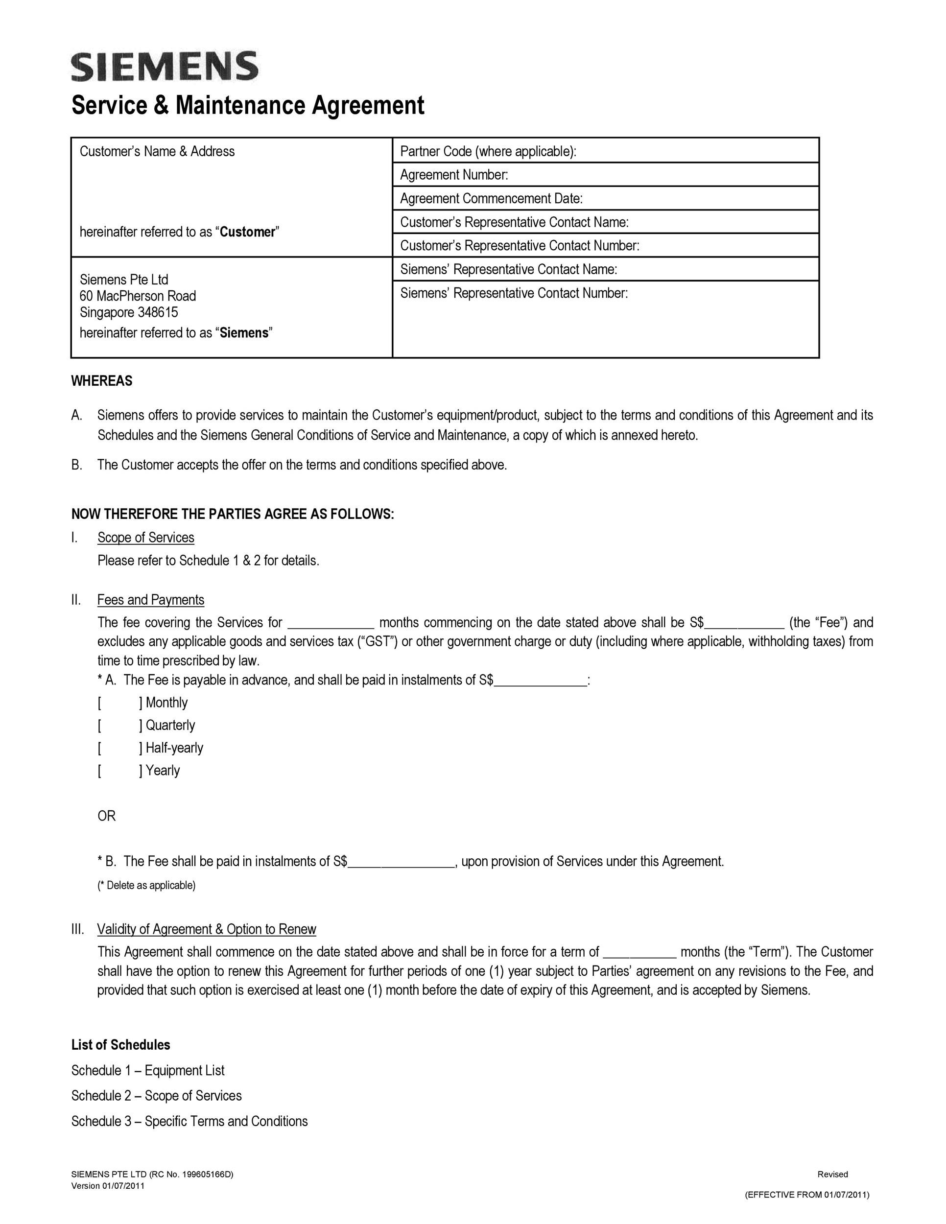 Free Service Agreement Template 48  Free Service Agreement Template