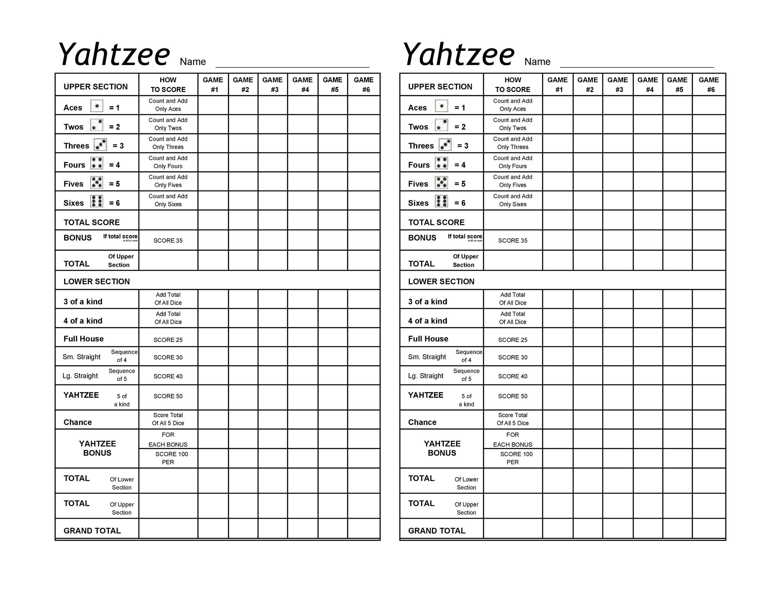 Free Yahtzee Score Sheets 01