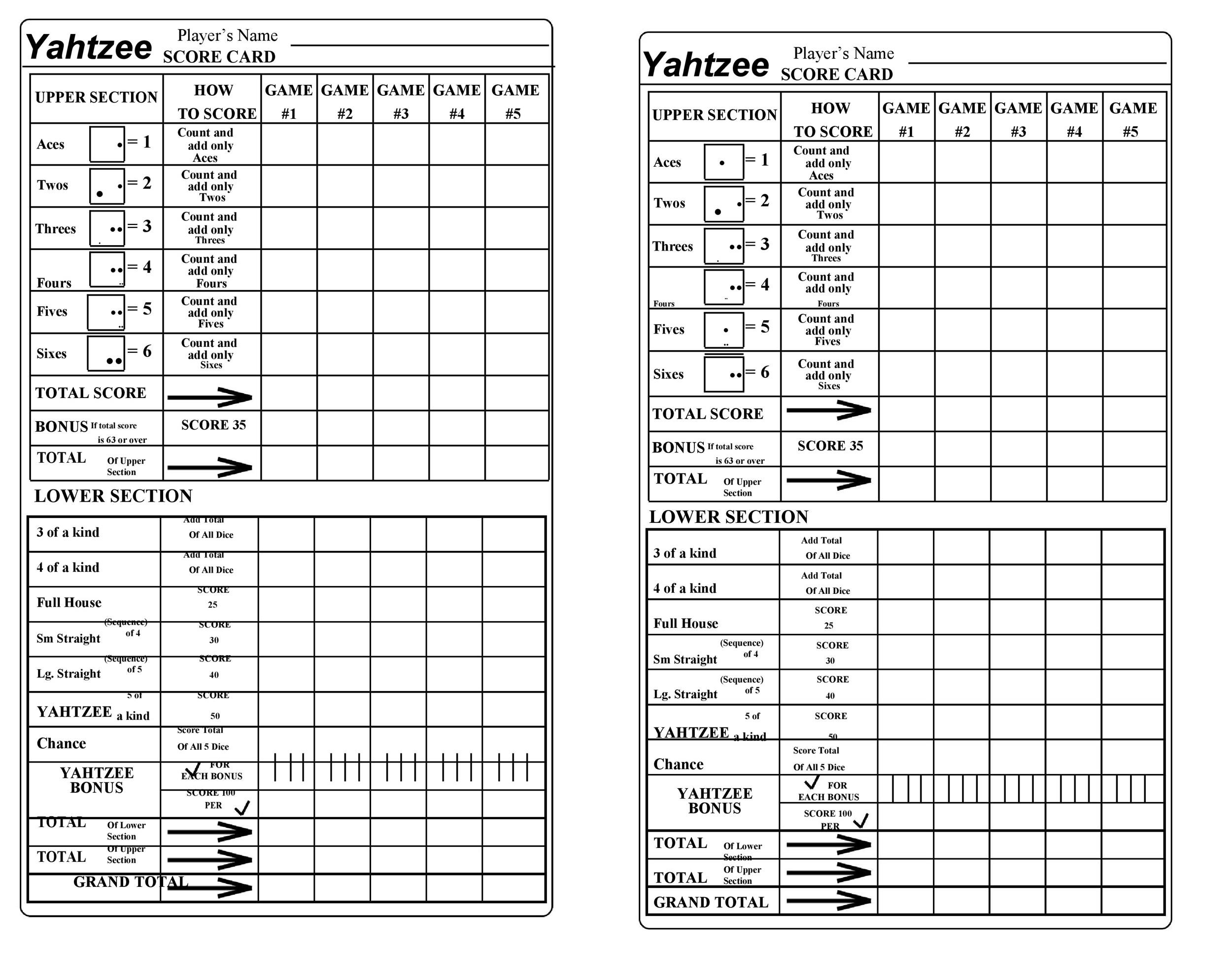 Nerdy image for yahtzee printable score cards