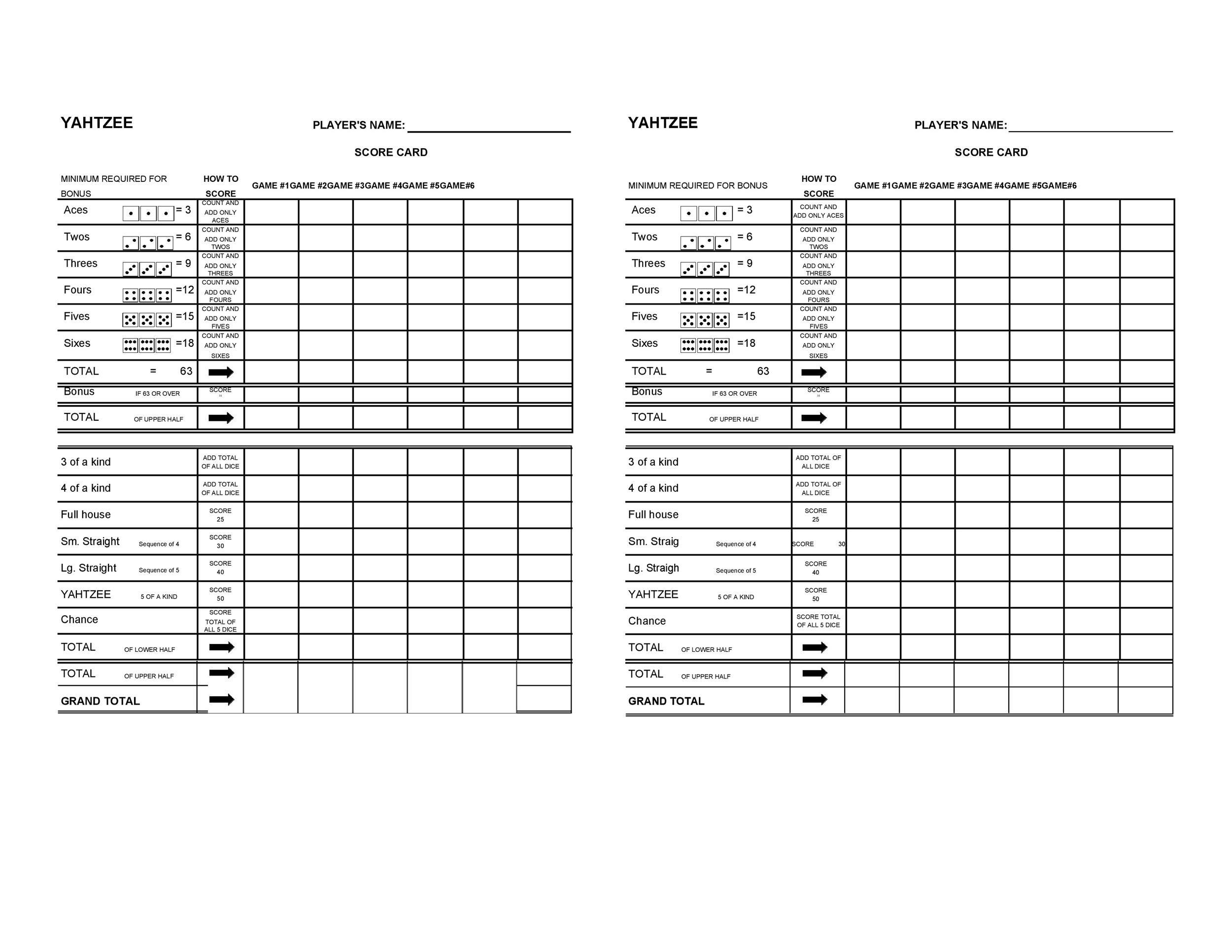 Free Yahtzee Score Sheets 04