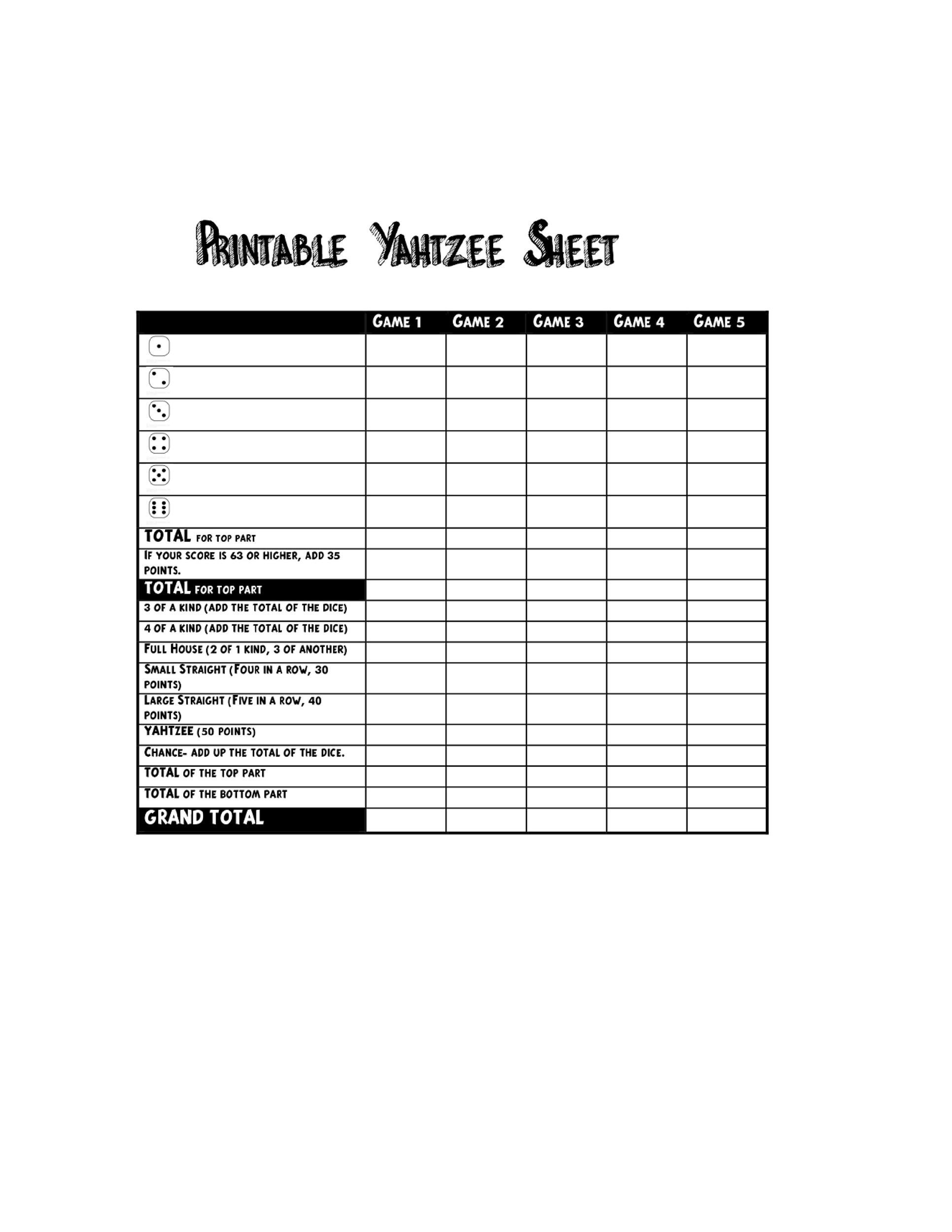 image relating to Yahtzee Rules Printable named 28 Printable Yahtzee Ranking Sheets Playing cards (101% No cost) ᐅ