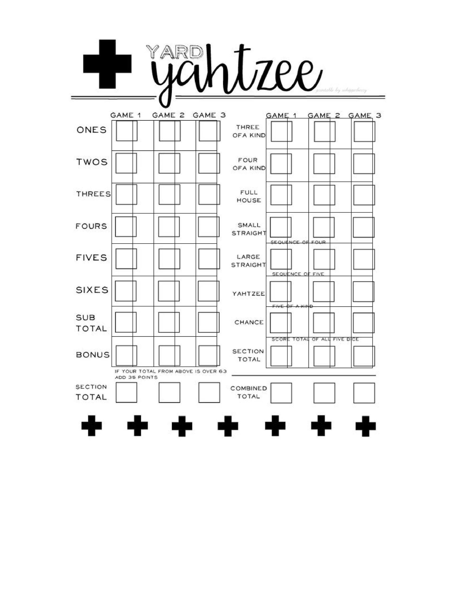 Free Yahtzee Score Sheets 08