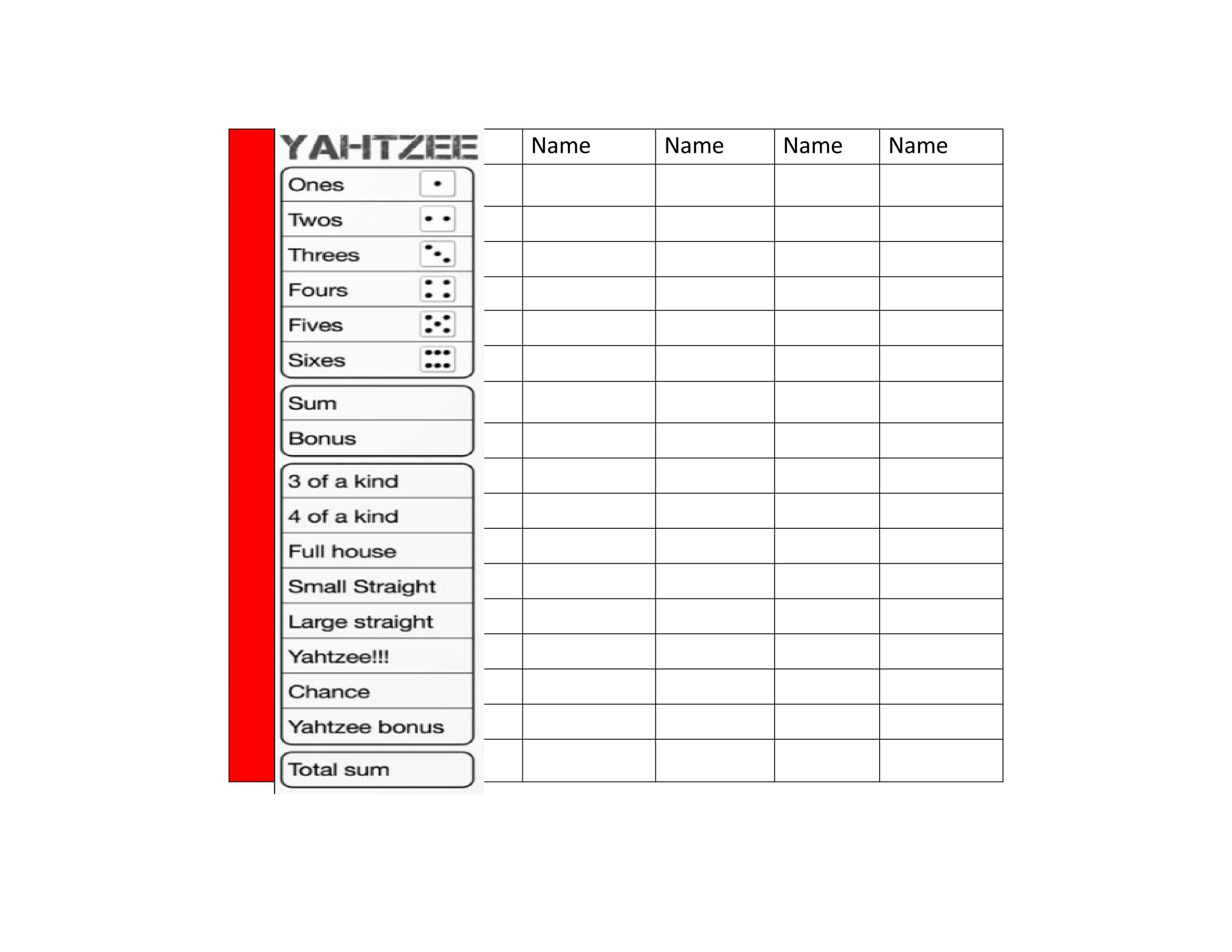 Free Yahtzee Score Sheets 09